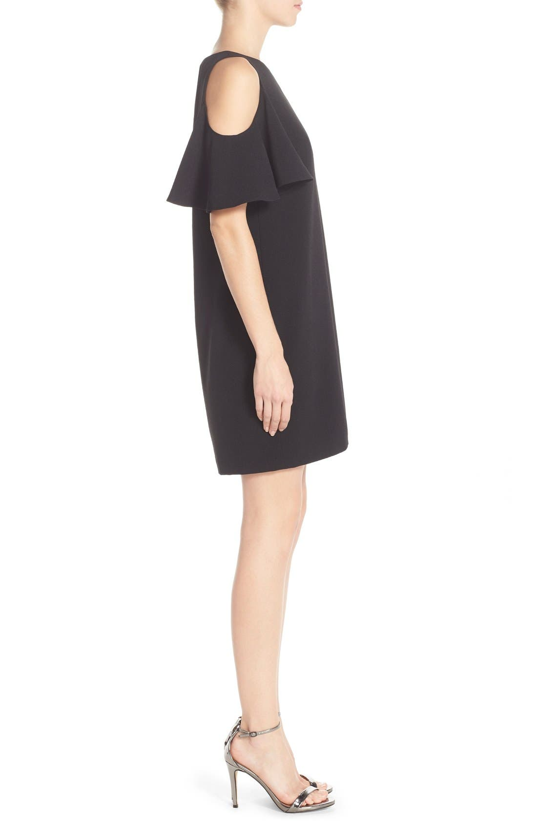 'Peek-A-Boo' Cold Shoulder Shift Dress,                             Alternate thumbnail 4, color,                             001