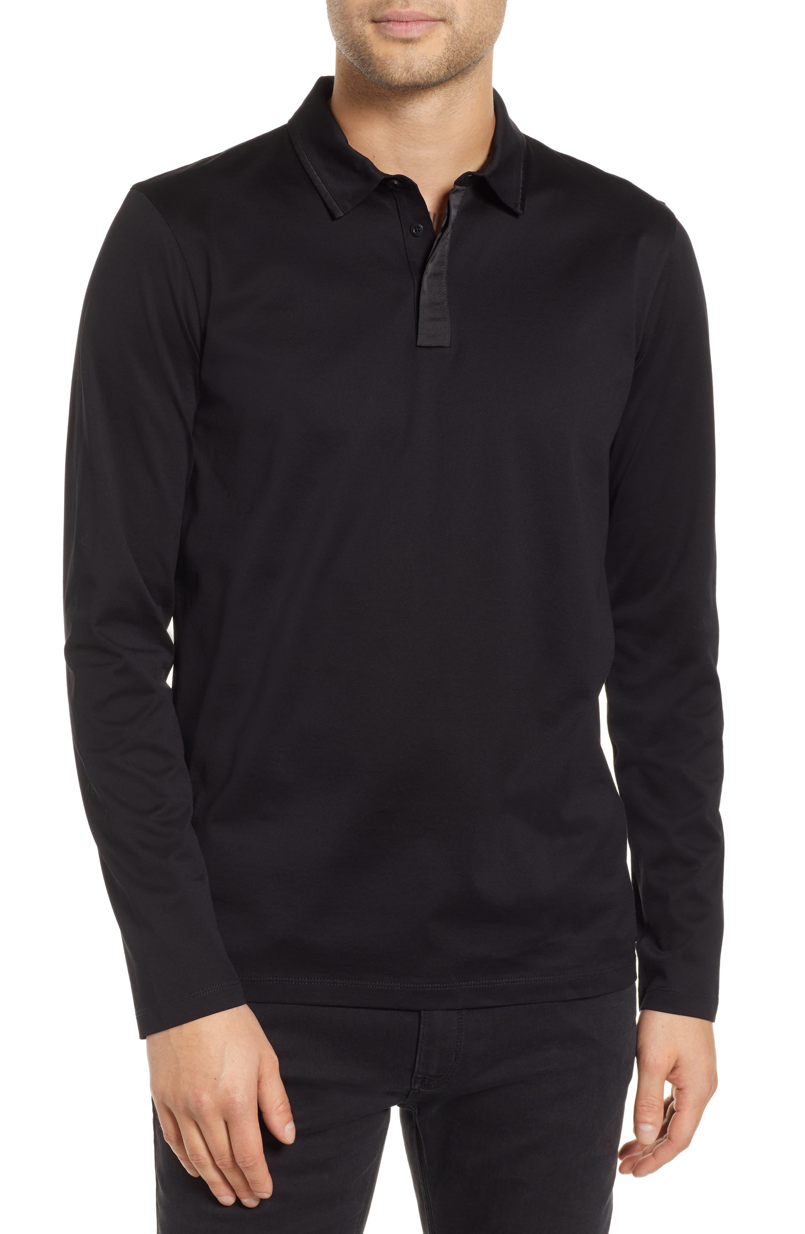 Dalendar Mercerized Cotton Slim Fit Polo Shirt,                         Main,                         color, BLACK