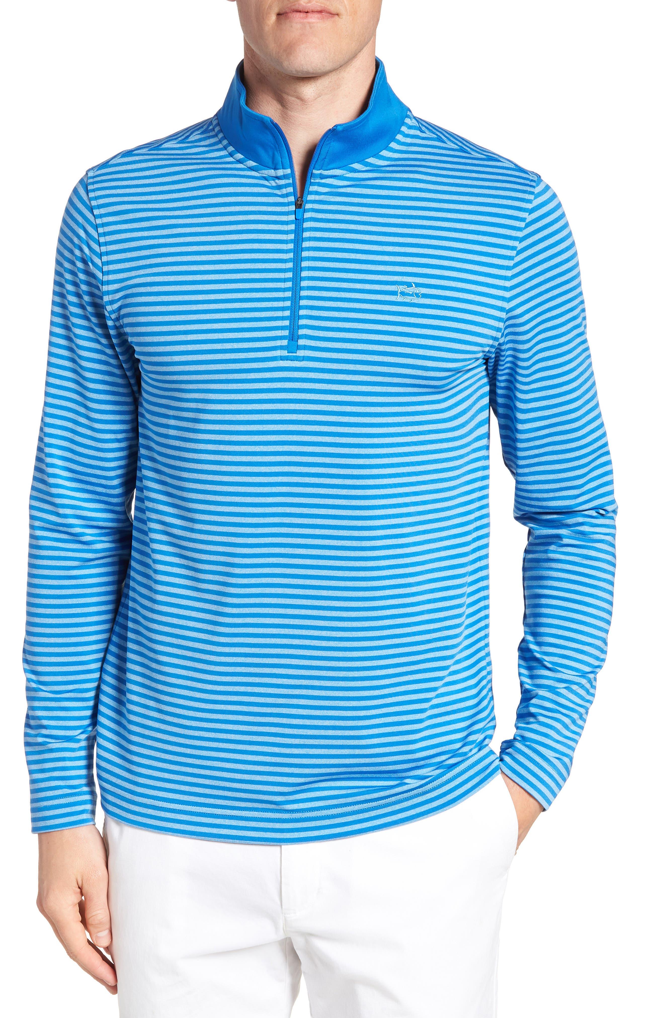 SOUTHERN TIDE Stripe Quarter Zip Pullover, Main, color, 400