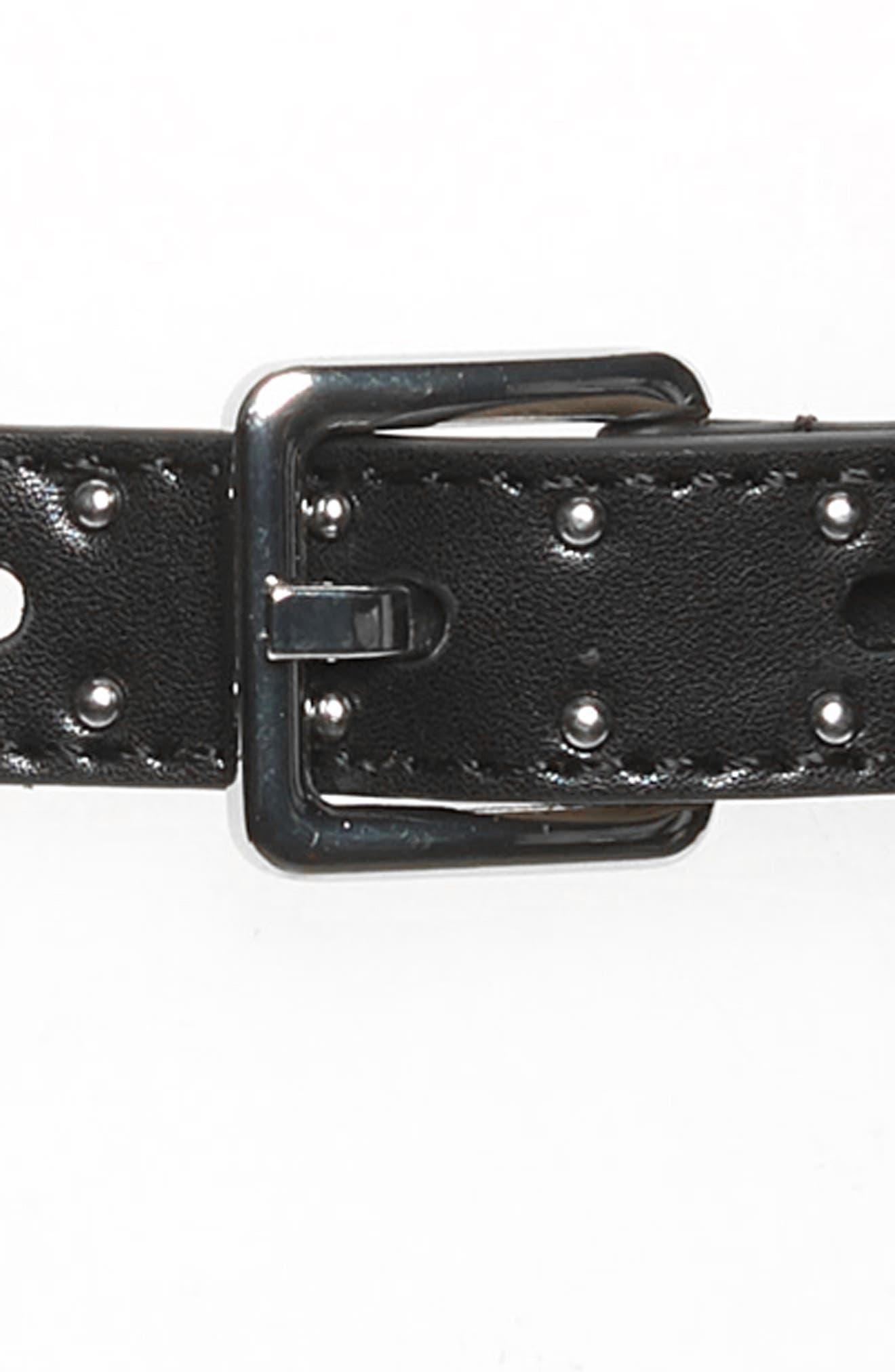 Studded Chain Inset Belt,                             Alternate thumbnail 3, color,                             BLACK / POL NICKEL