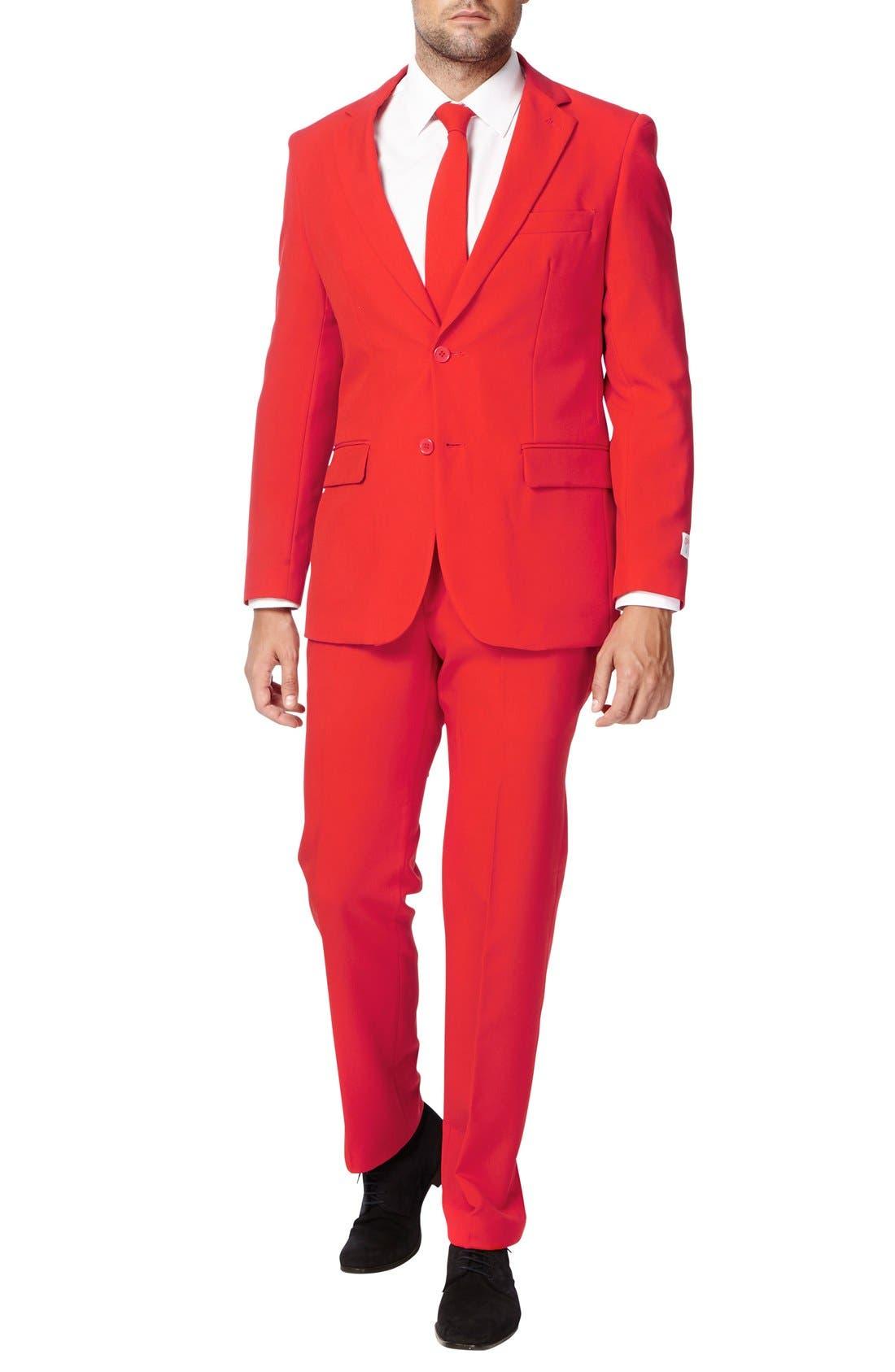 OppoSuit 'Red Devil' Trim Fit Two-Piece Suit with Tie,                             Alternate thumbnail 4, color,                             610
