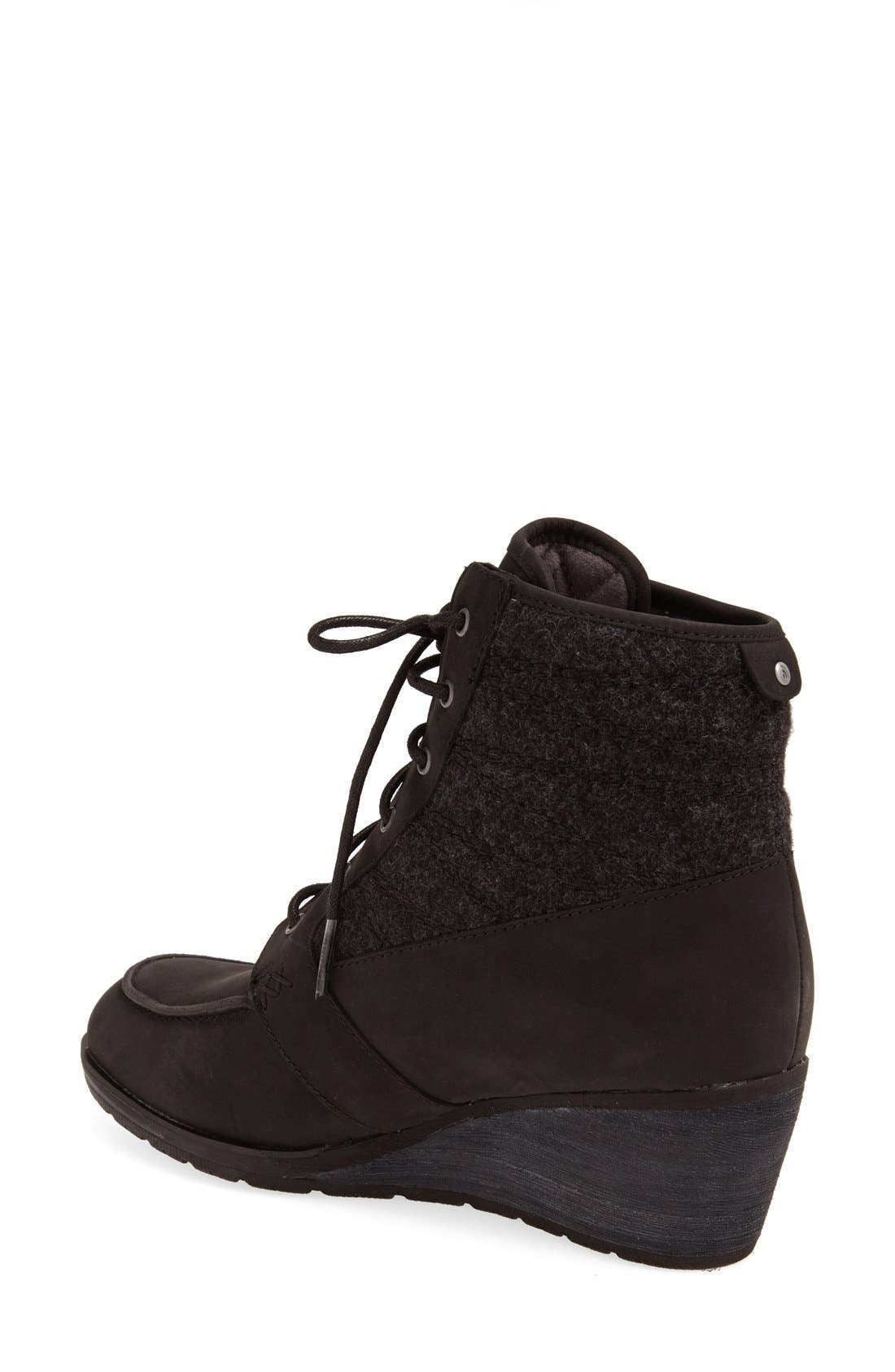 'Bridgeton Wedge Lace' Waterproof Boot,                             Alternate thumbnail 4, color,                             001