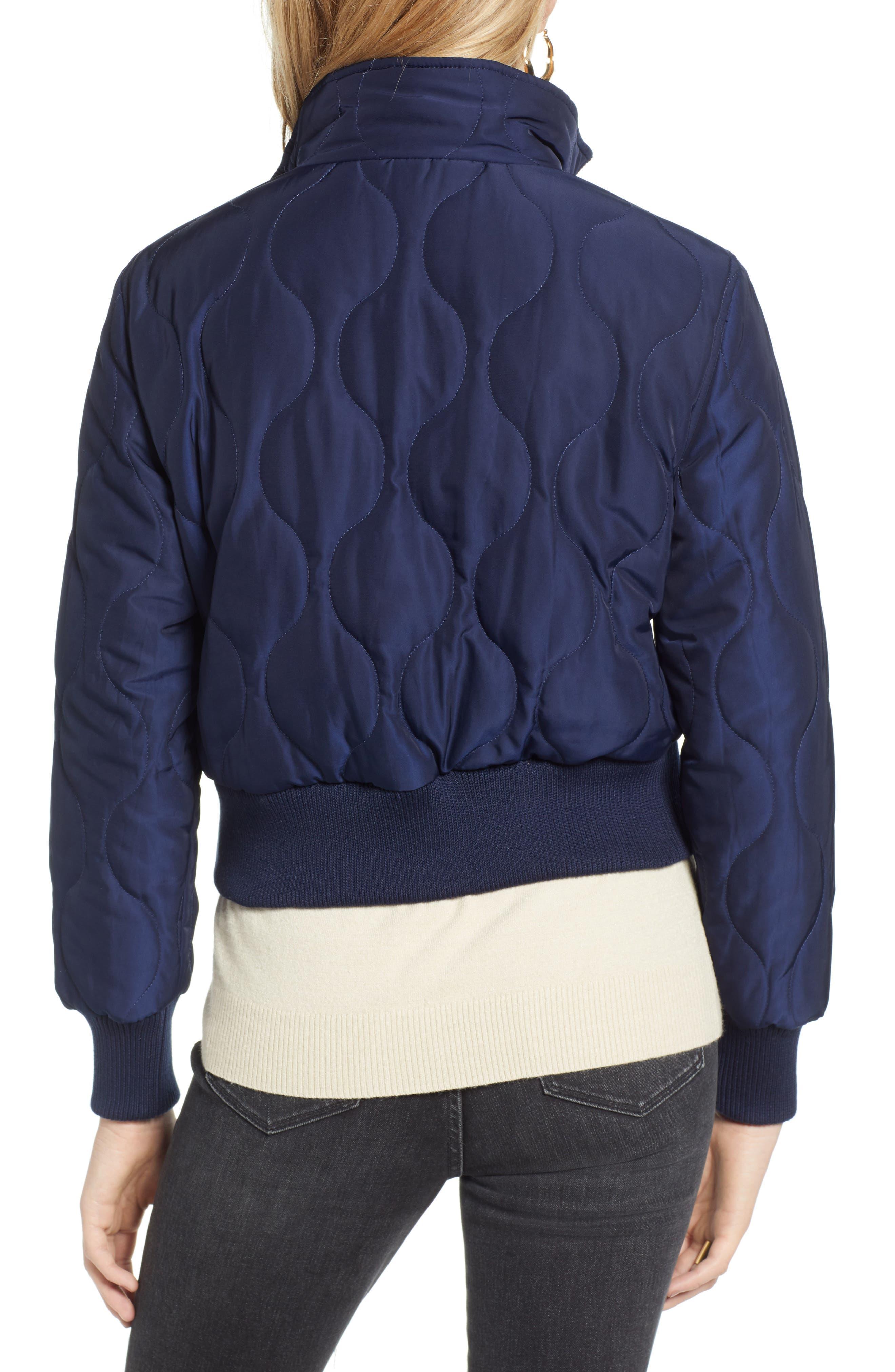 Satin Crop Puffer Jacket,                             Alternate thumbnail 2, color,                             NAVY MARITIME