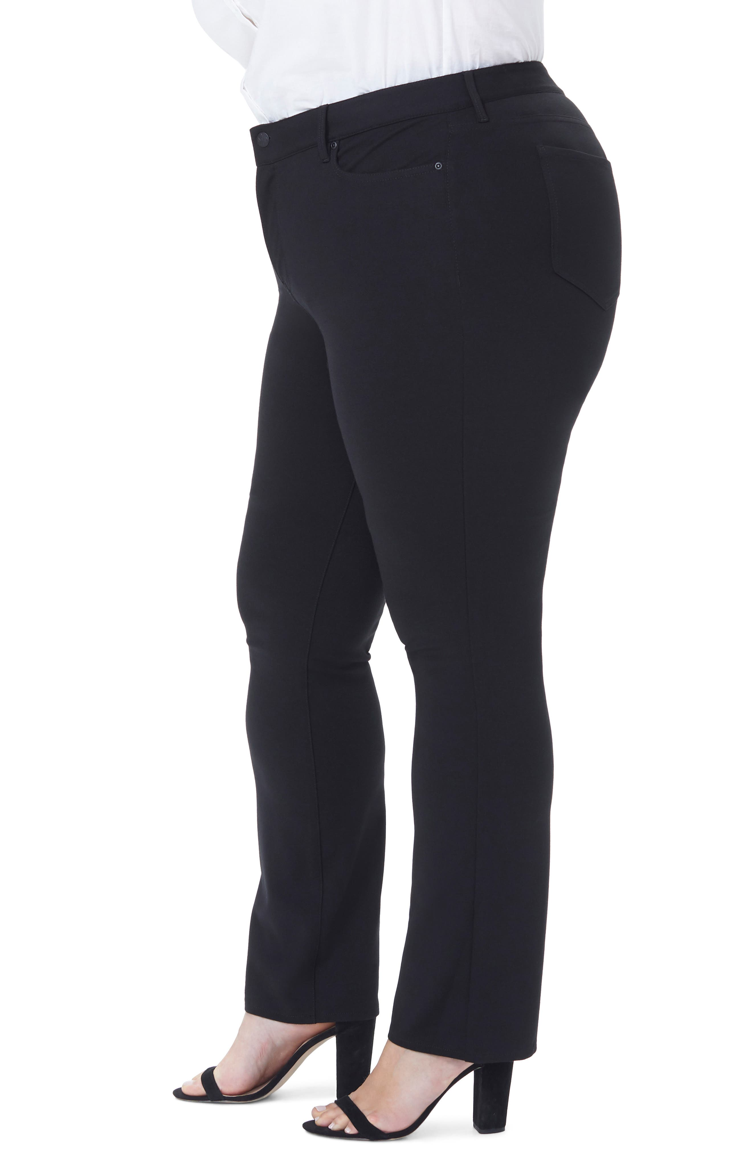 Marilyn Straight Ponte Knit Pants,                             Alternate thumbnail 3, color,                             BLACK