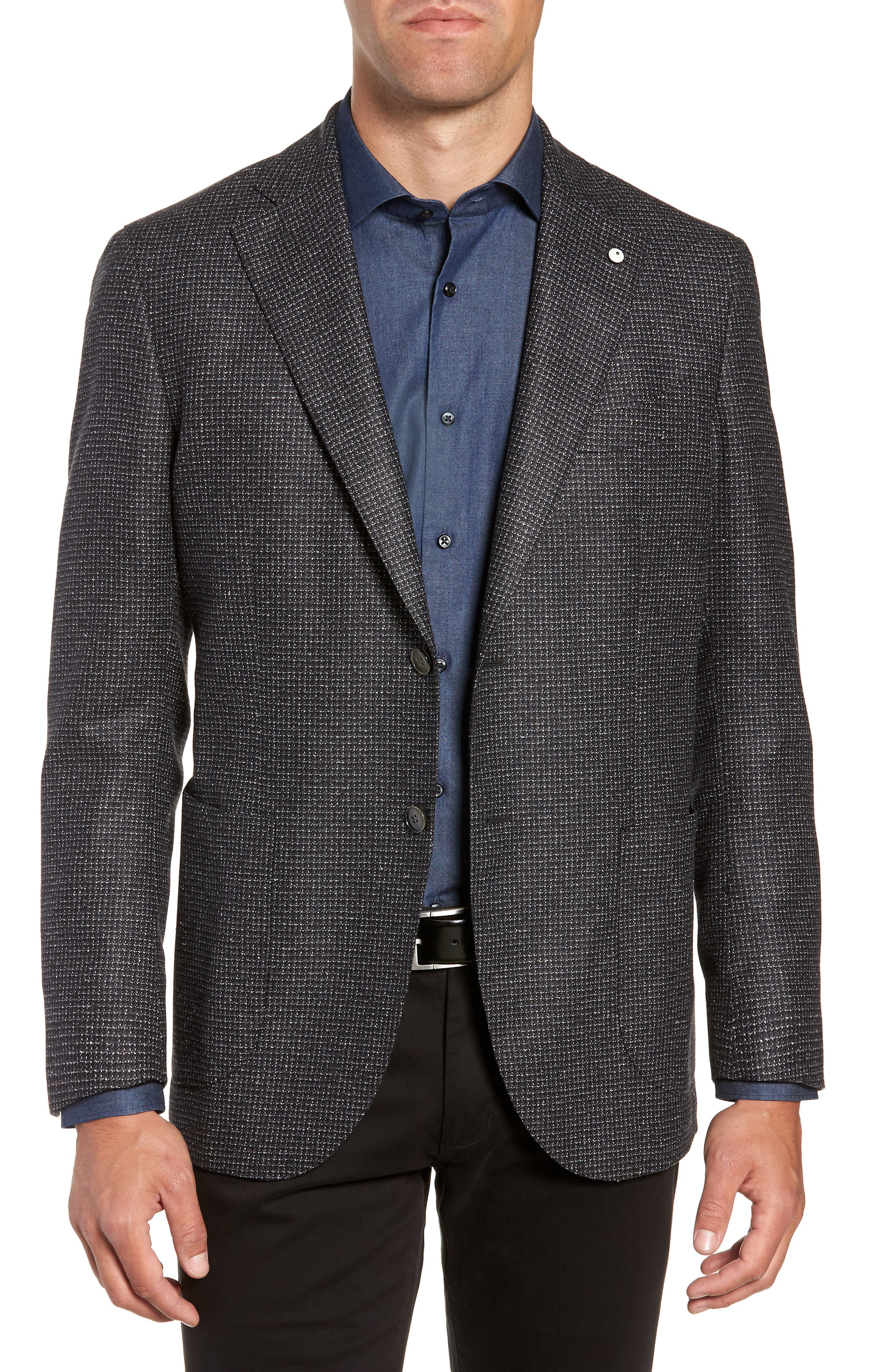L.B.M. L.B.M 1911 Classic Fit Silk & Wool Sport Coat in Black
