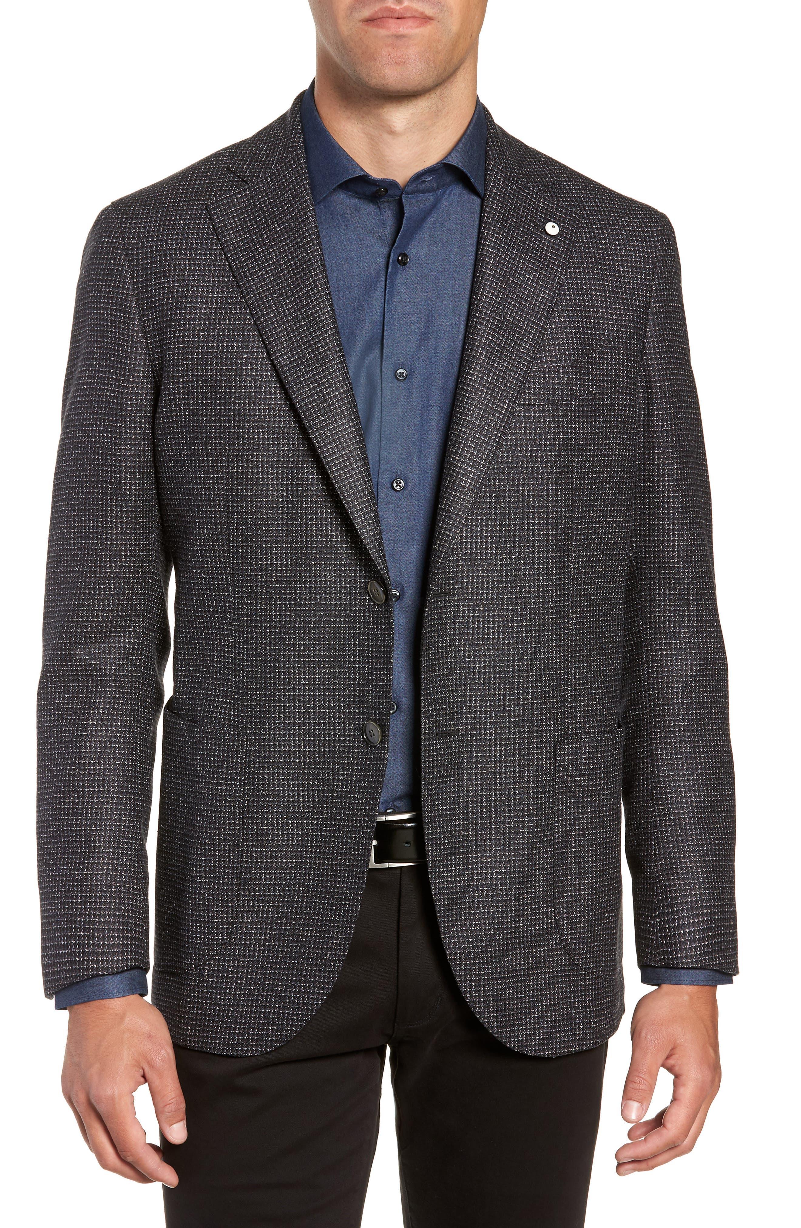 L.B.M 1911 Classic Fit Silk & Wool Sport Coat,                         Main,                         color, BLACK