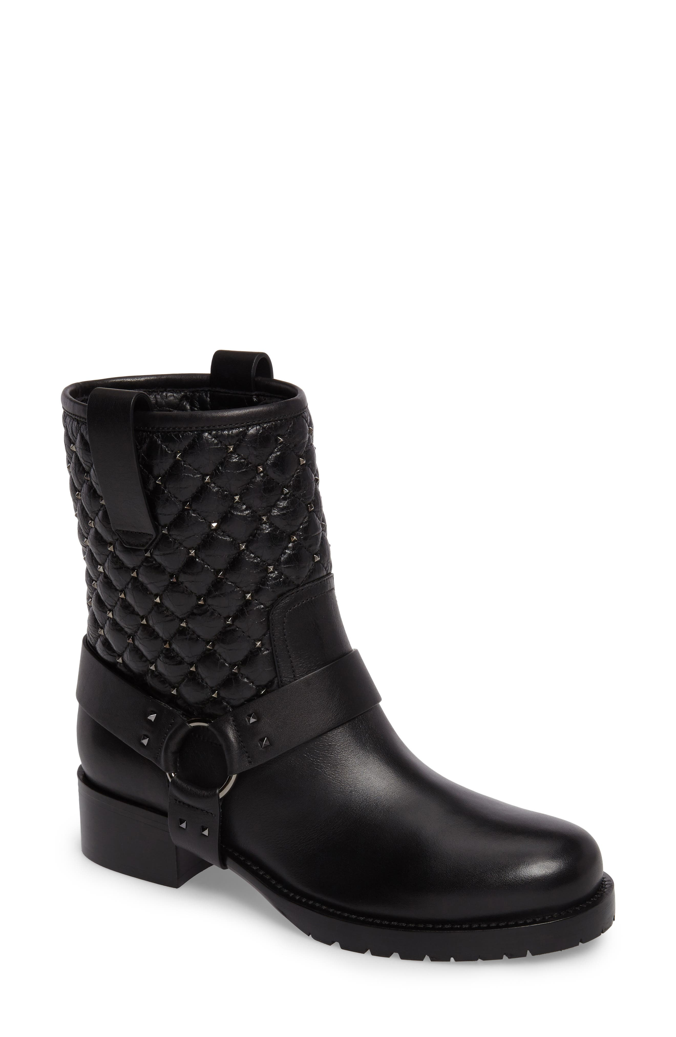 Rockstud Quilted Harness Bootie,                             Main thumbnail 1, color,                             001