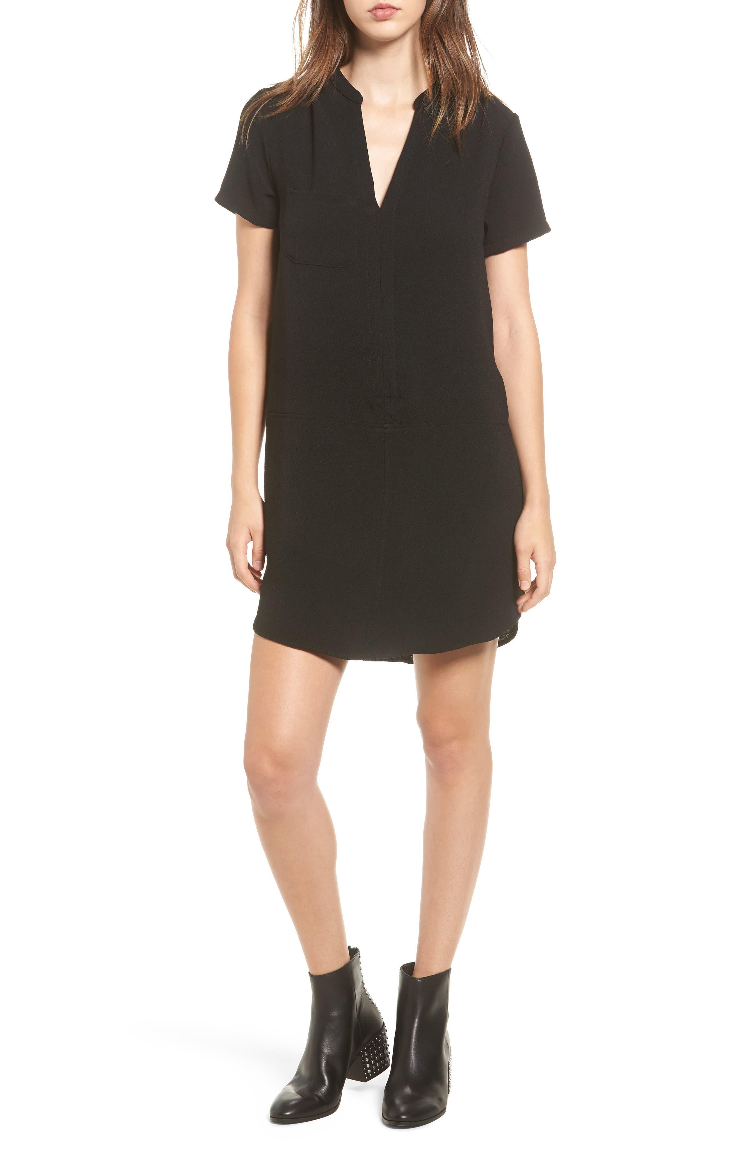 Hailey Crepe Dress,                         Main,                         color, BLACK