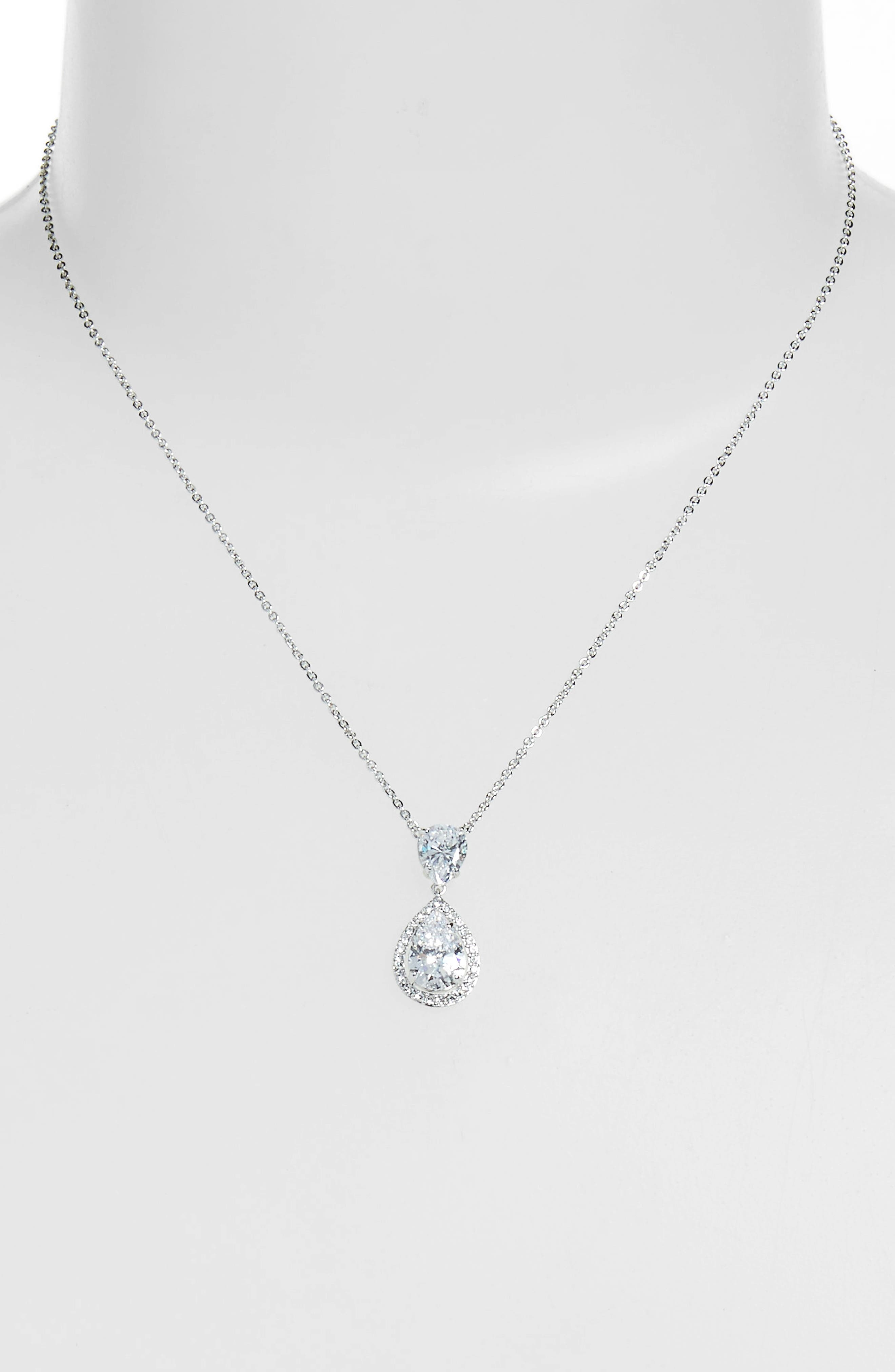 Crystal Teardrop Pendant Necklace,                             Alternate thumbnail 2, color,                             CLEAR- SILVER