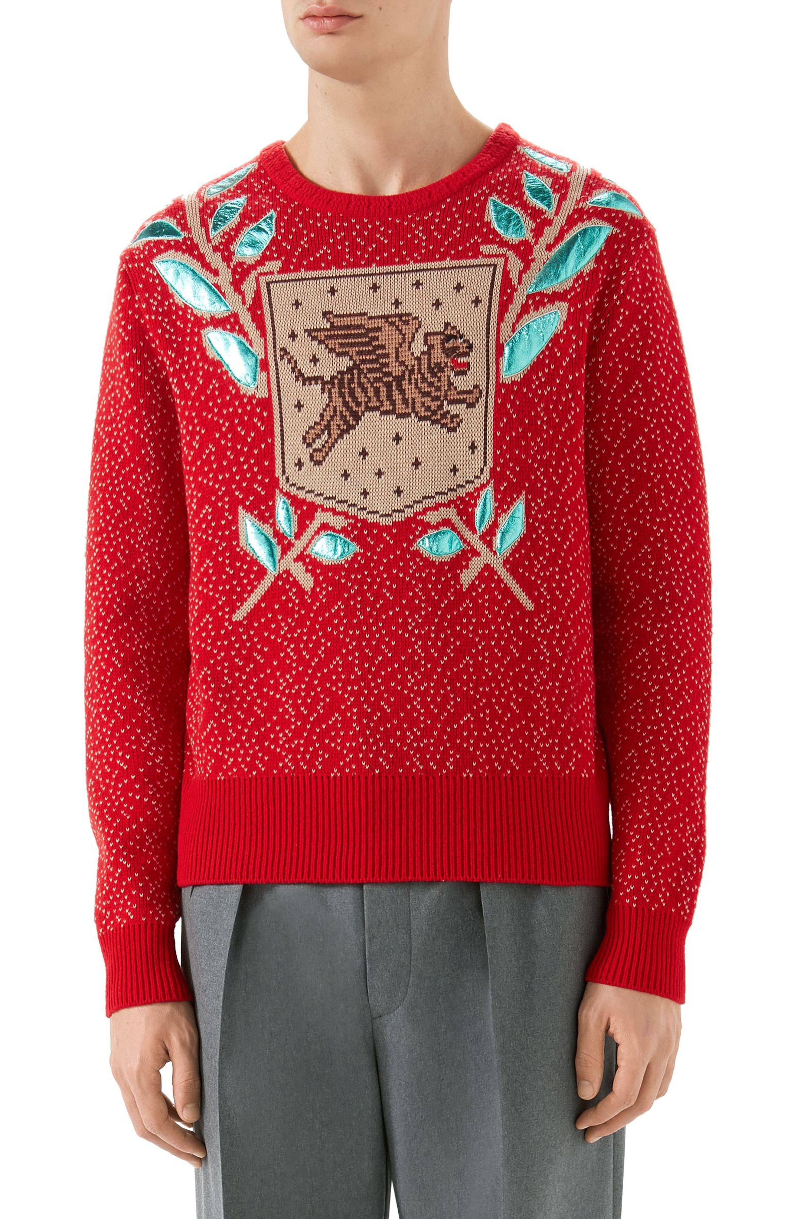Jacquard Wool Blend Sweater,                             Main thumbnail 1, color,                             LIVE RED