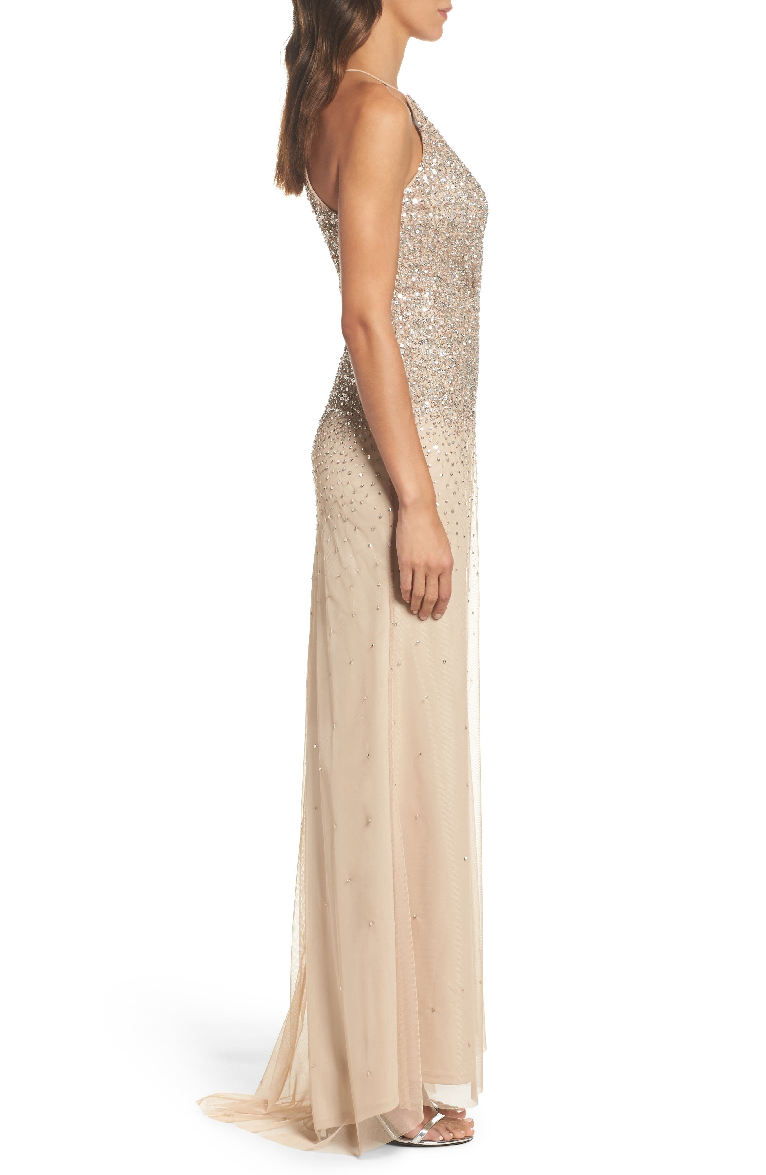 Beaded Halter Gown,                             Alternate thumbnail 3, color,                             273