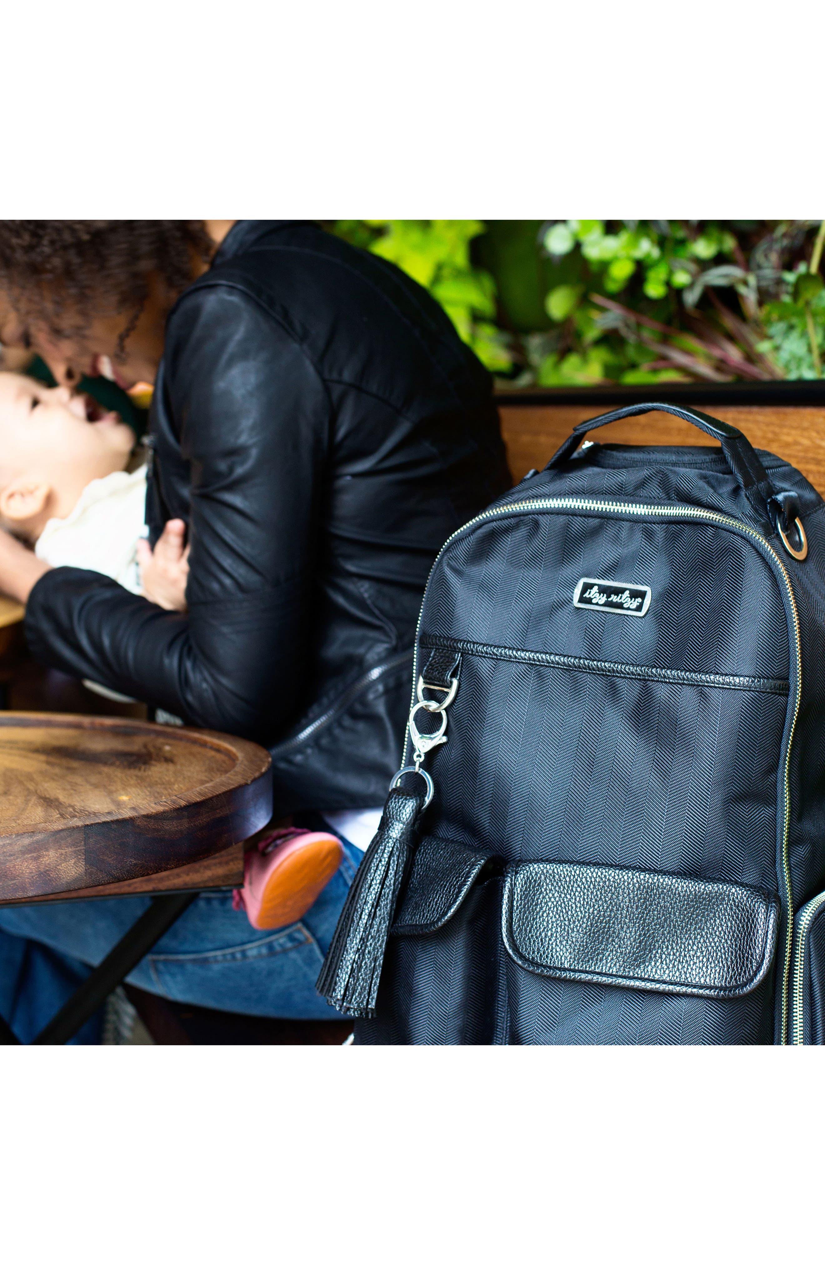 Diaper Bag Backpack,                             Alternate thumbnail 7, color,                             BLACK HERRINGBONE