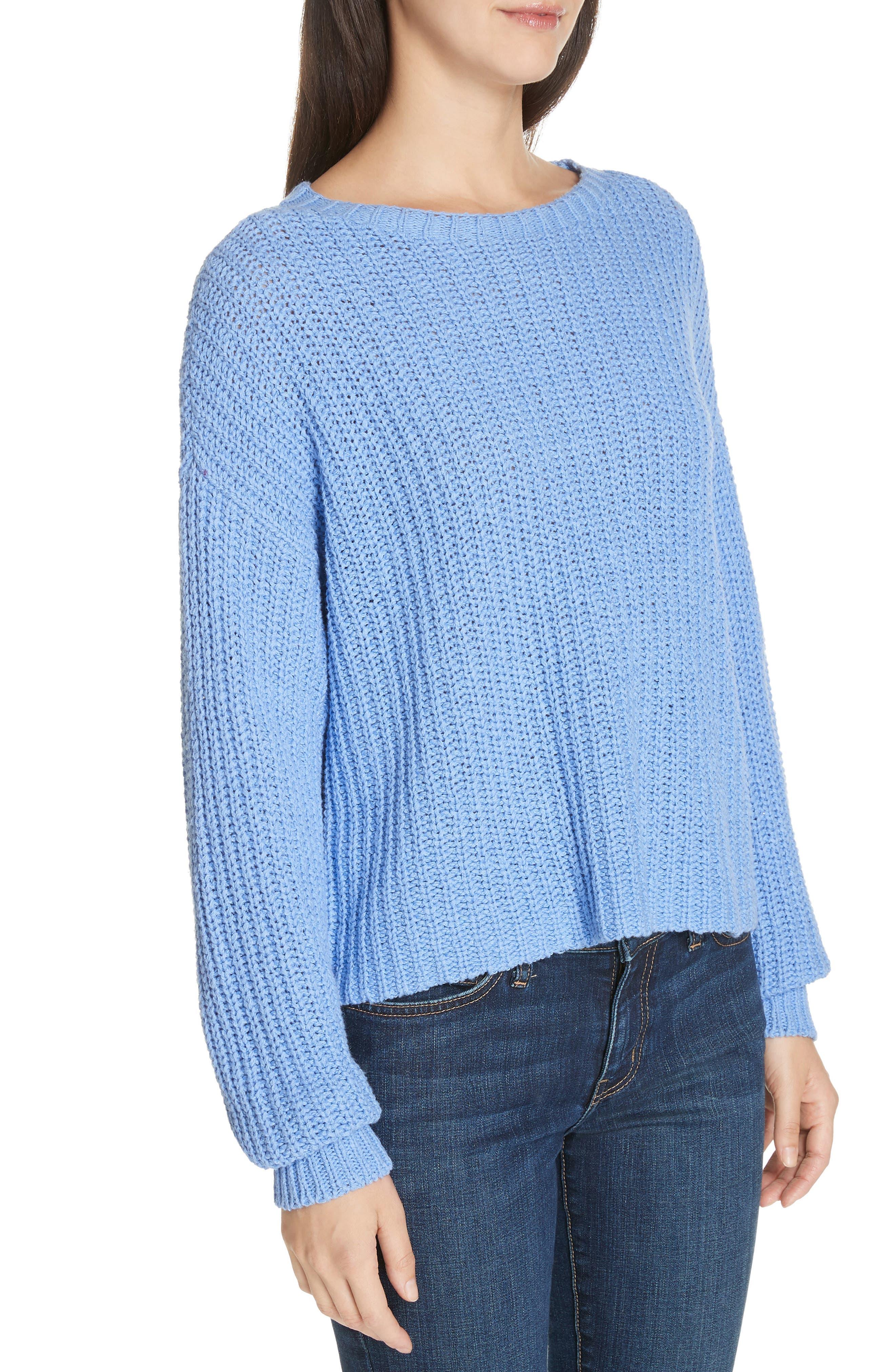 EILEEN FISHER,                             Crewneck Crop Shaker Sweater,                             Alternate thumbnail 4, color,                             BLUEBIRD