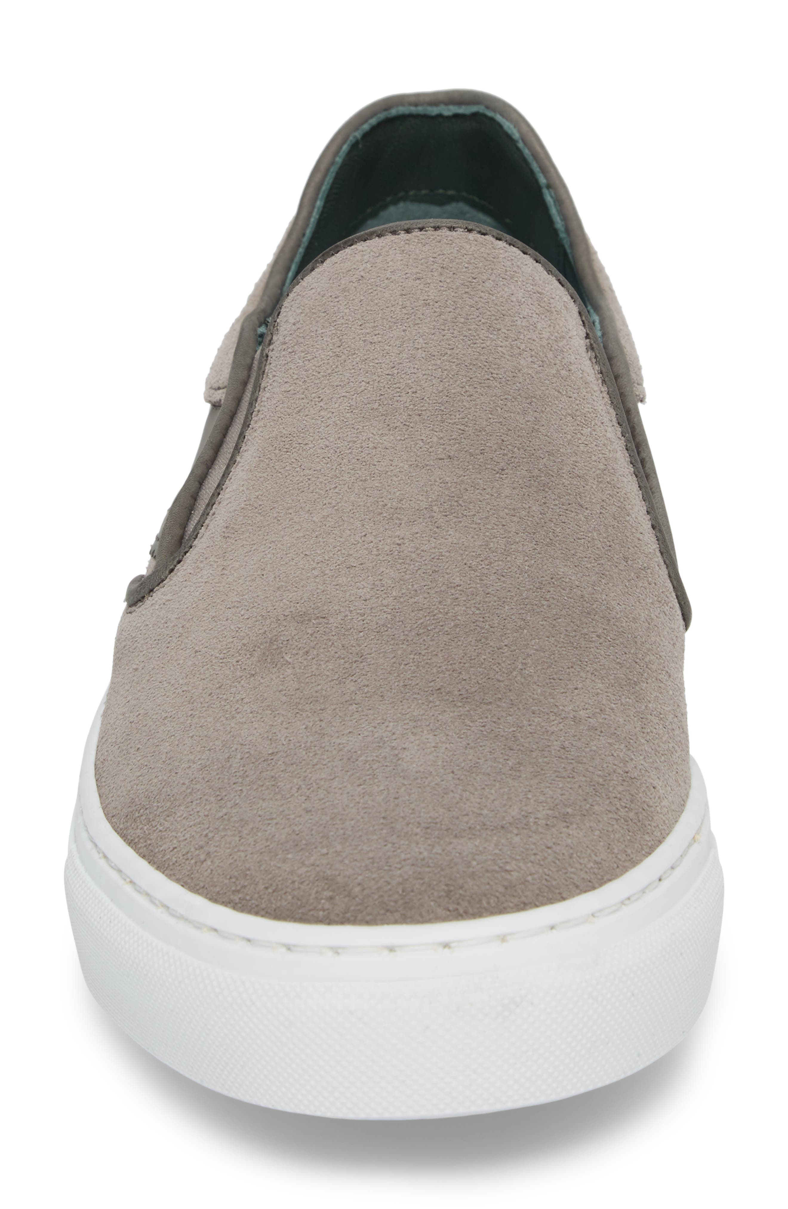 Reaine Brogued Slip-On Sneaker,                             Alternate thumbnail 4, color,                             LIGHT GREY LEATHER