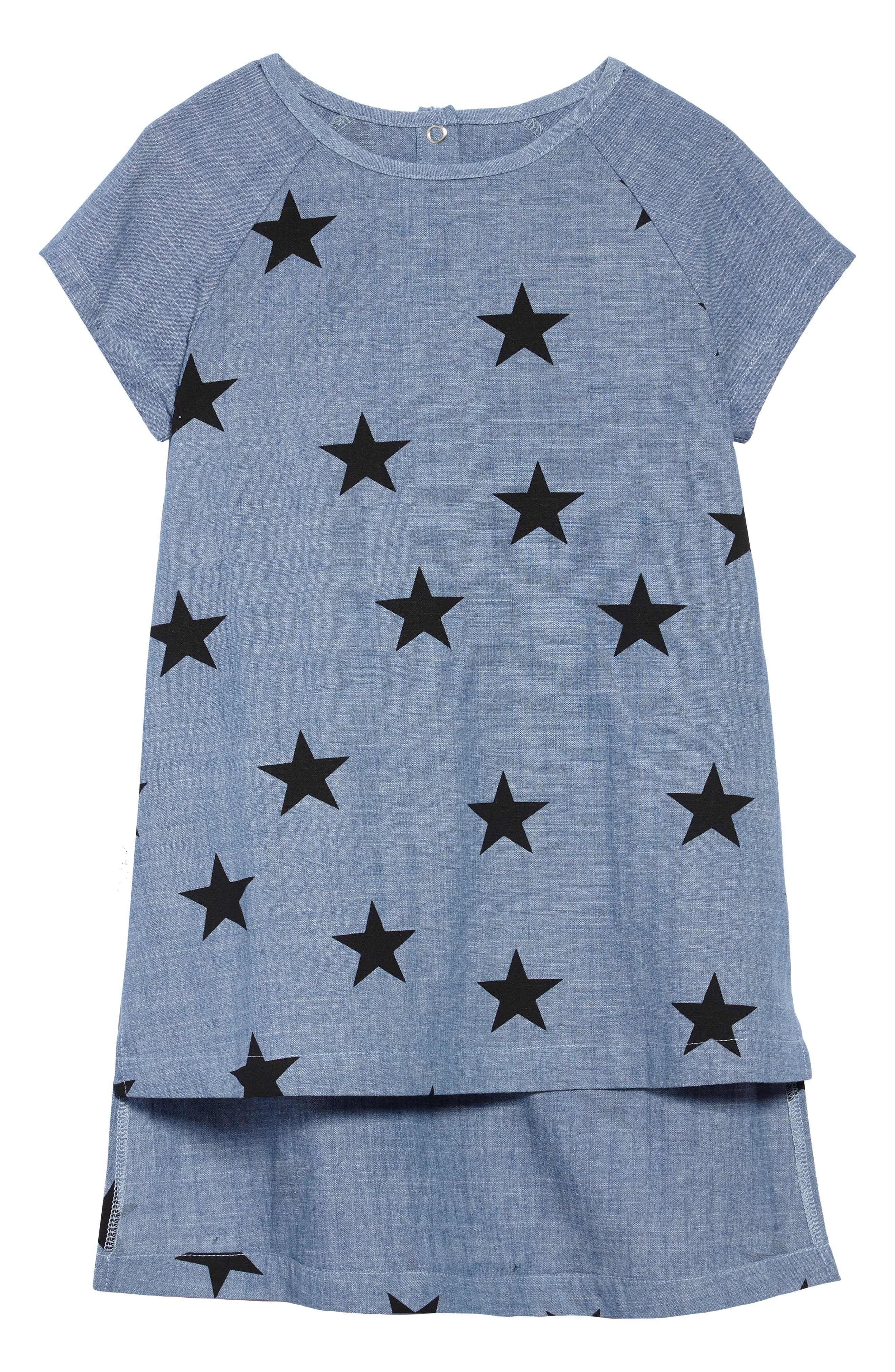 Star Print Chambray Dress,                             Main thumbnail 1, color,                             CHAMBRAY