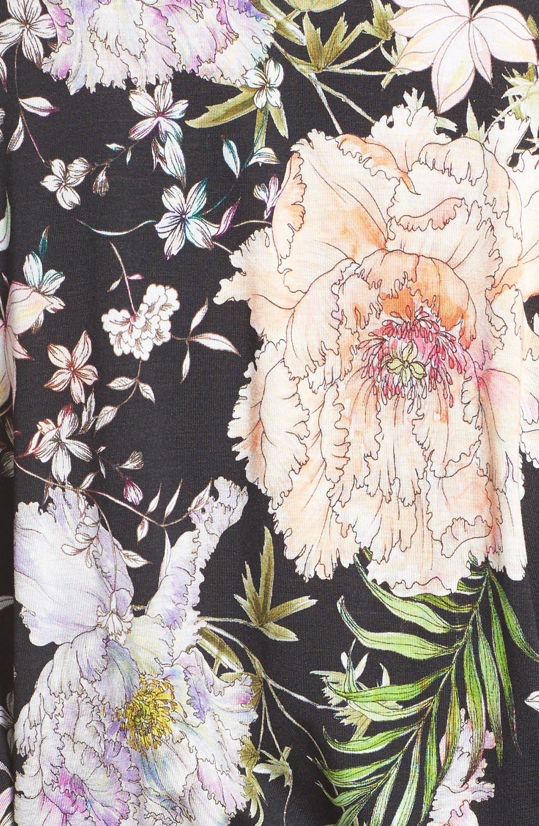FLORA NIKROOZ,                             'Magnolia' Knit Short Robe,                             Alternate thumbnail 5, color,                             001