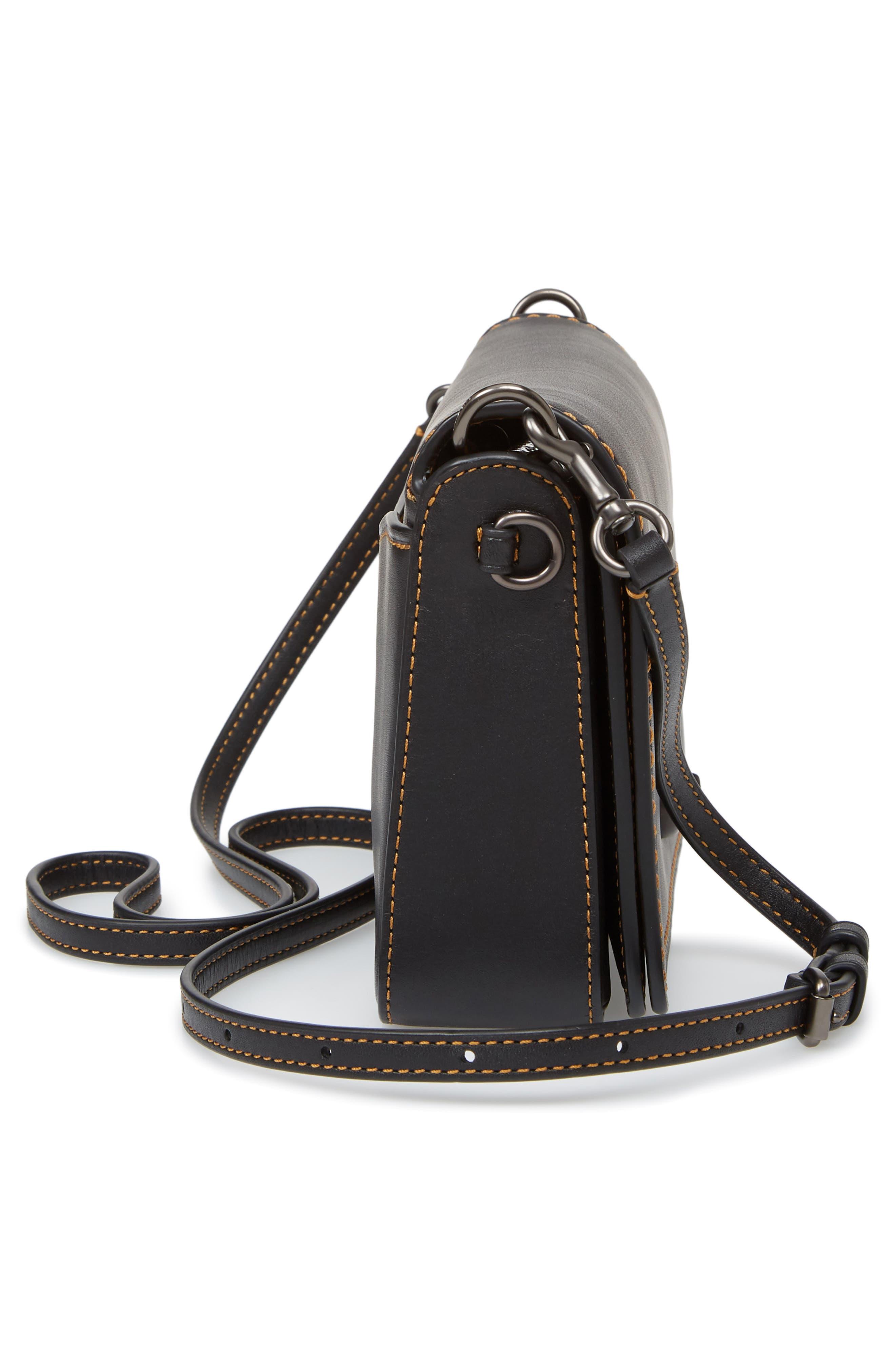 Dinky Crossbody Leather Bag,                             Alternate thumbnail 5, color,                             BLACK HONEY