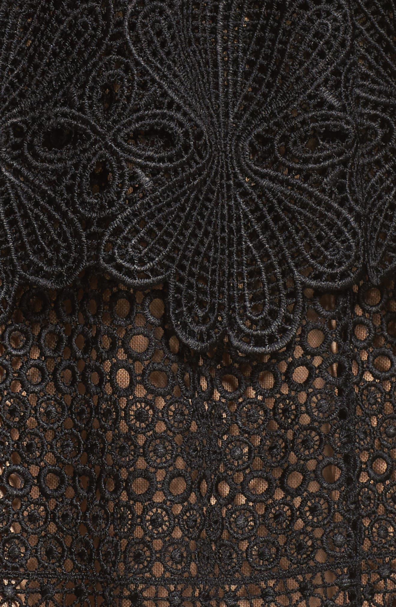 Amelia Lace A-Line Dress,                             Alternate thumbnail 5, color,                             001