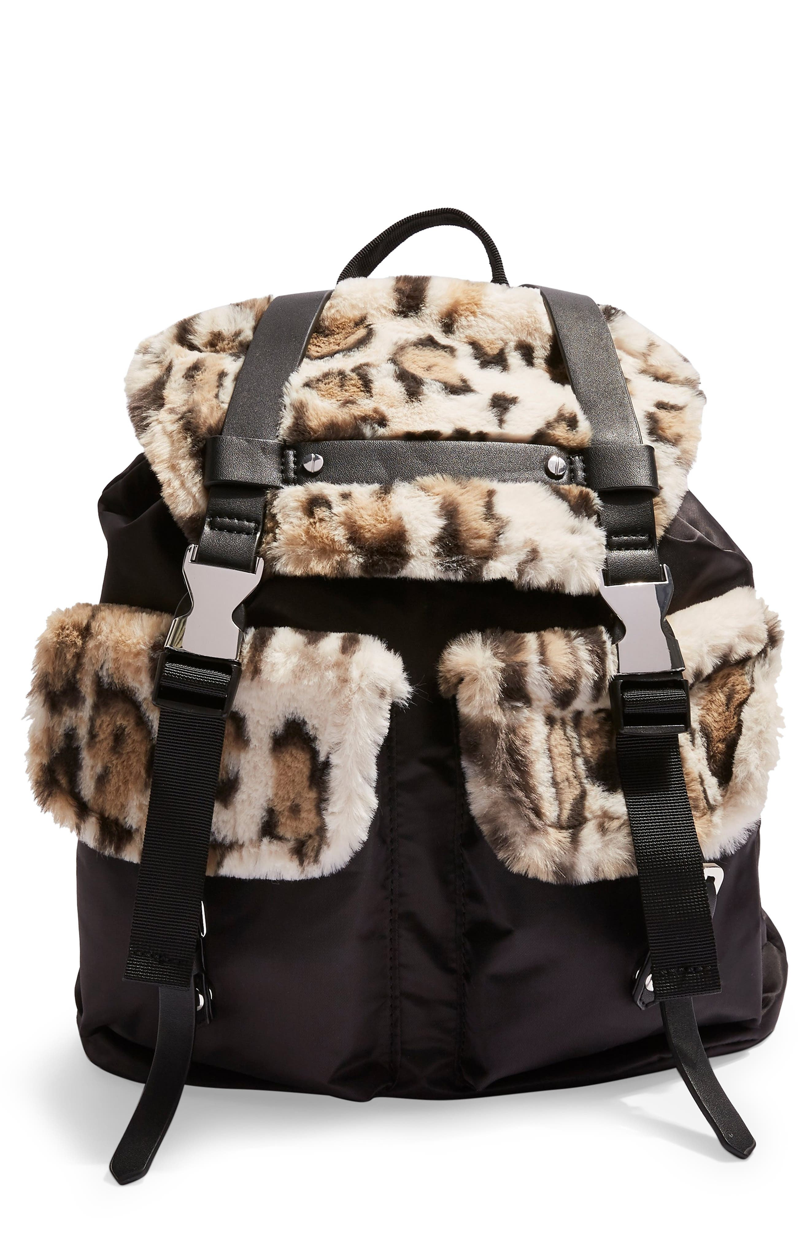 Topshop Boston Faux Fur Backpack - Beige
