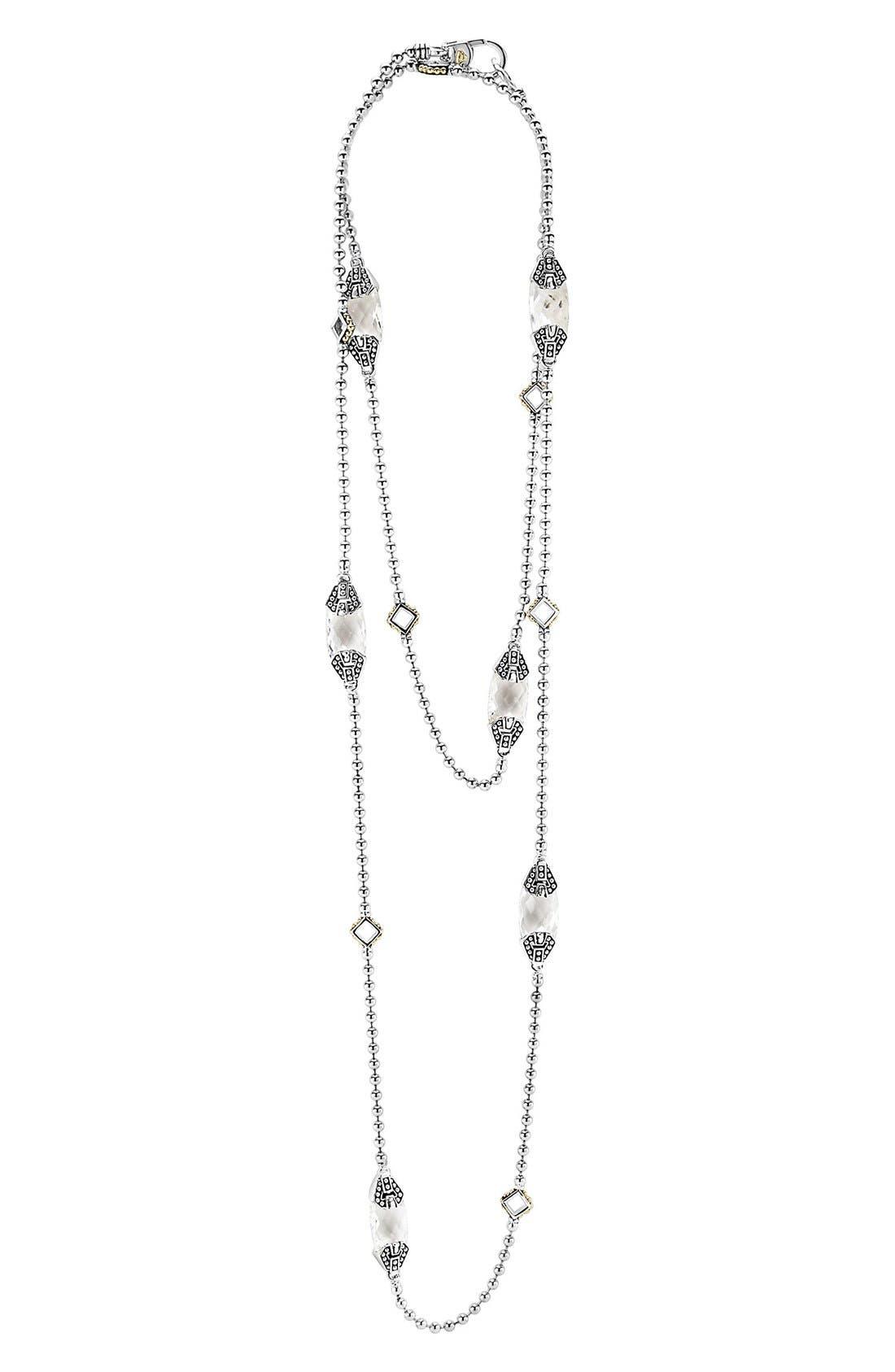 'Caviar Color' Long Semiprecious Stone Station Necklace,                             Alternate thumbnail 3, color,                             WHITE TOPAZ