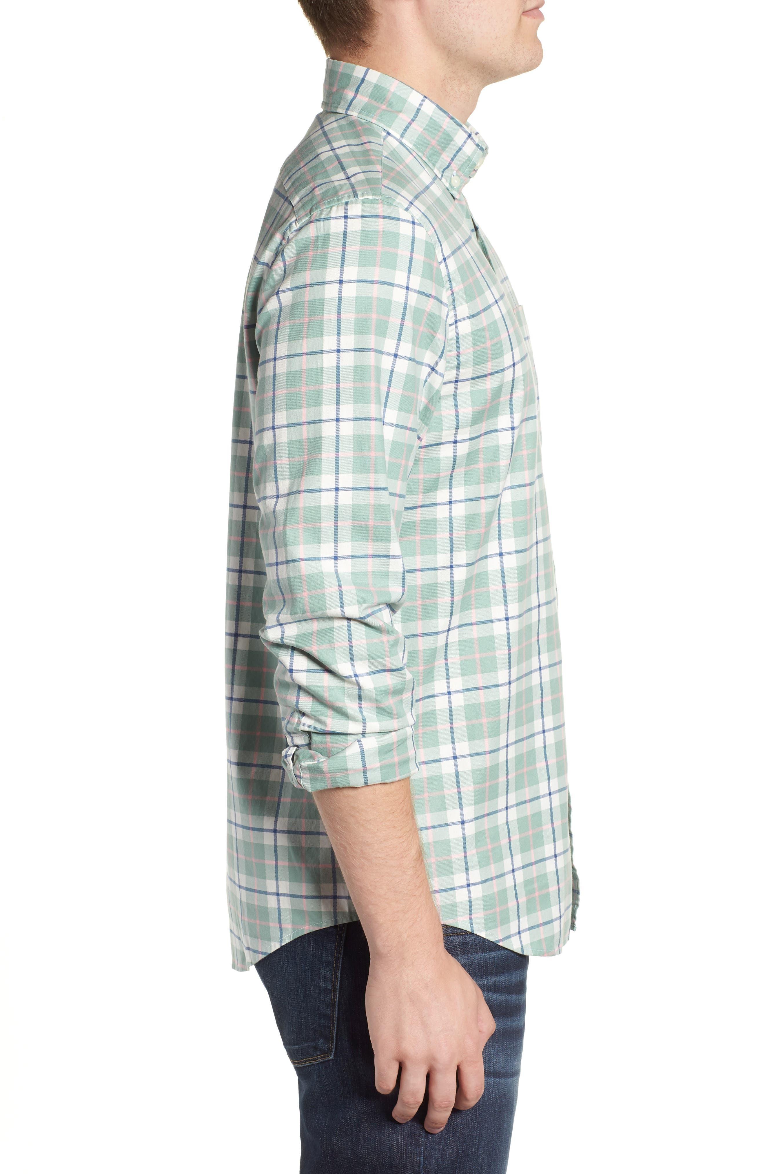 Riverbank Regular Fit Plaid Sport Shirt,                             Alternate thumbnail 4, color,                             DESERT GREEN