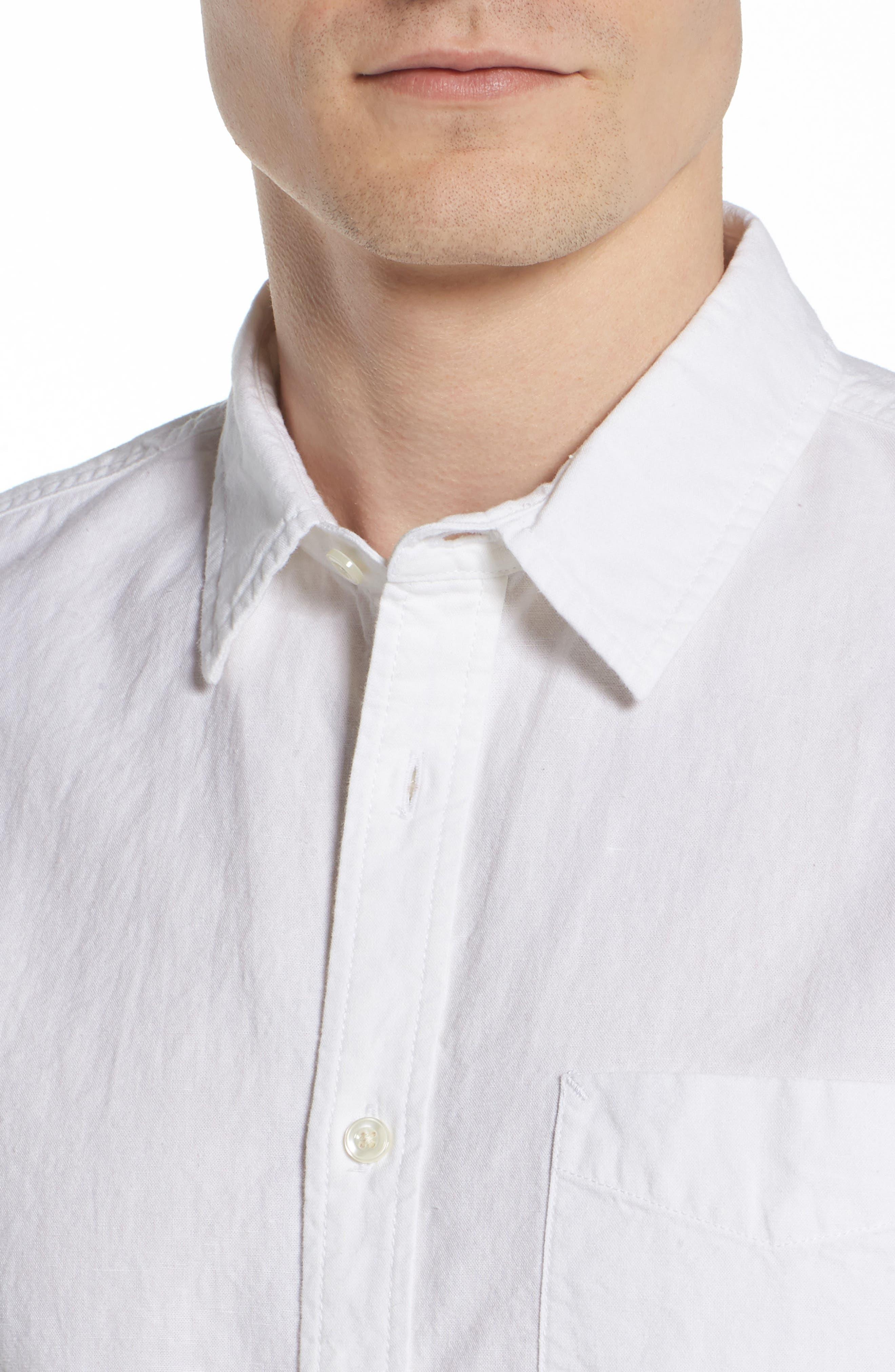 Colton Regular Fit Cotton & Linen Sport Shirt,                             Alternate thumbnail 4, color,                             TRUE WHITE