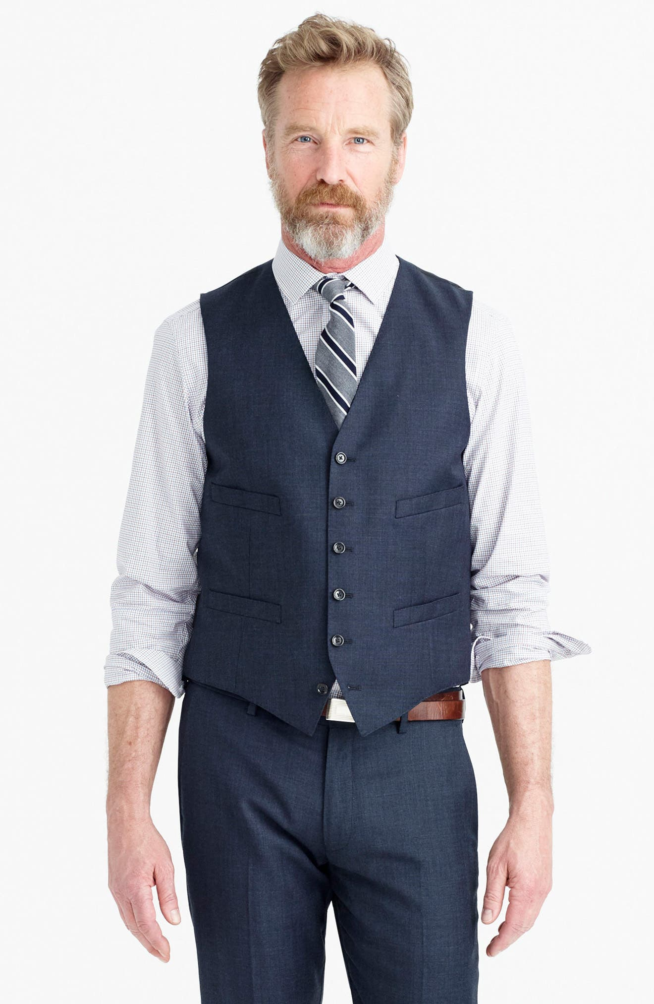 Ludlow Trim Fit Solid Wool Vest,                             Alternate thumbnail 14, color,                             410