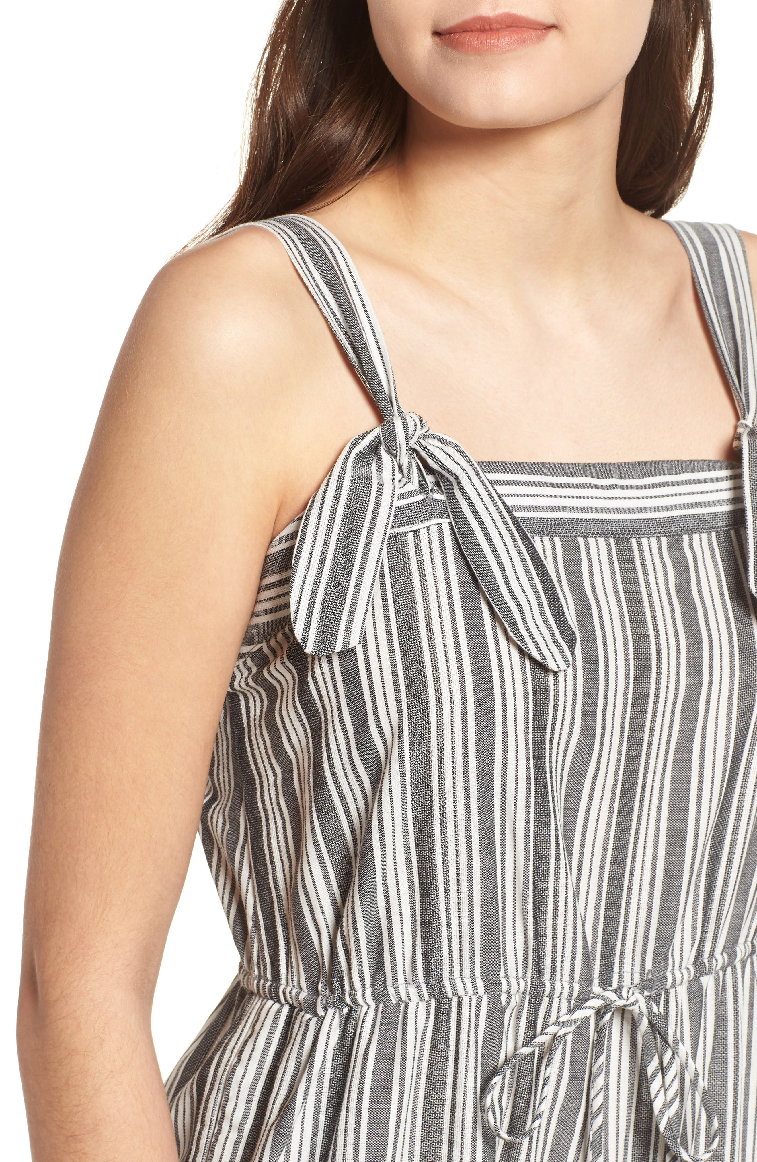 Stripe Knot Strap Jumpsuit,                             Alternate thumbnail 4, color,                             WHITE SUN STRIPE