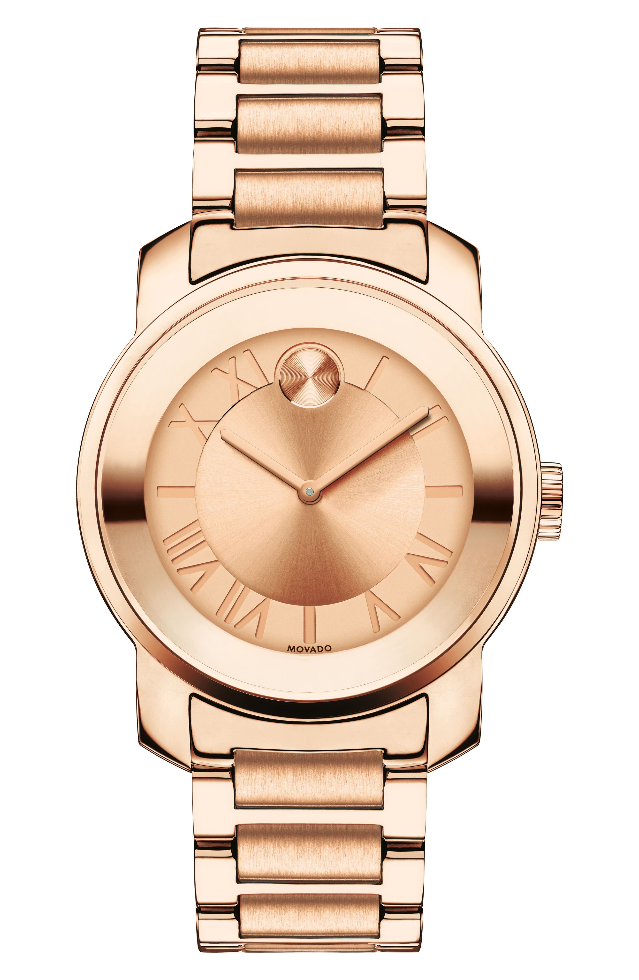 'Bold' Bracelet Watch, 32mm,                         Main,                         color, ROSE GOLD