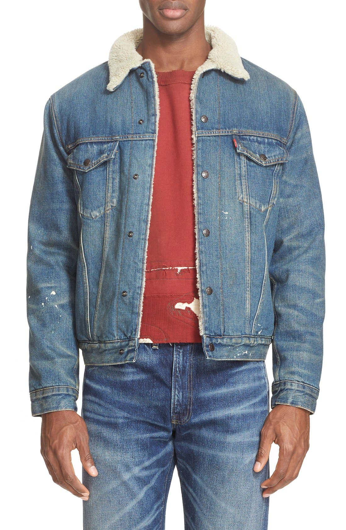 '1967 Type III' Denim Jacket with Faux Fur Collar, Main, color, 400