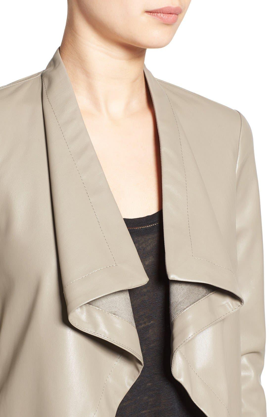 'Peppin' Drape Front Faux Leather Jacket,                             Alternate thumbnail 33, color,
