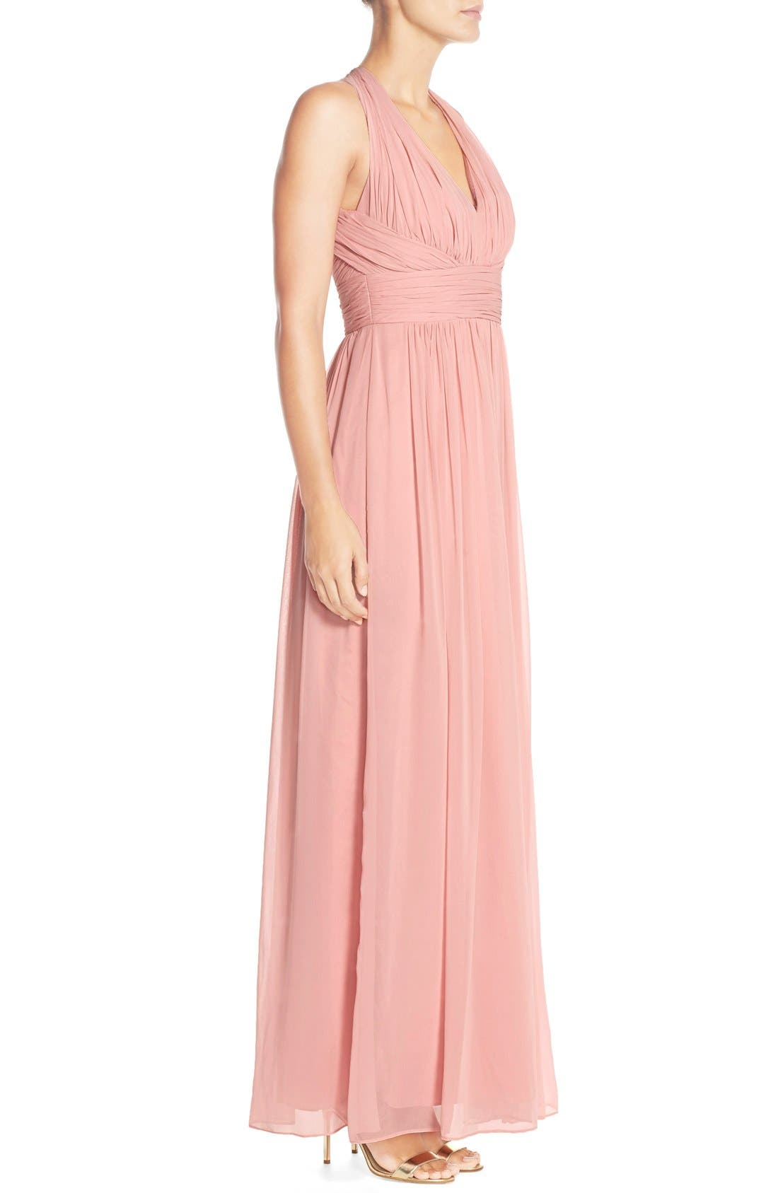 Dessy Collection Ruched Chiffon V-Neck Halter Gown,                             Alternate thumbnail 7, color,