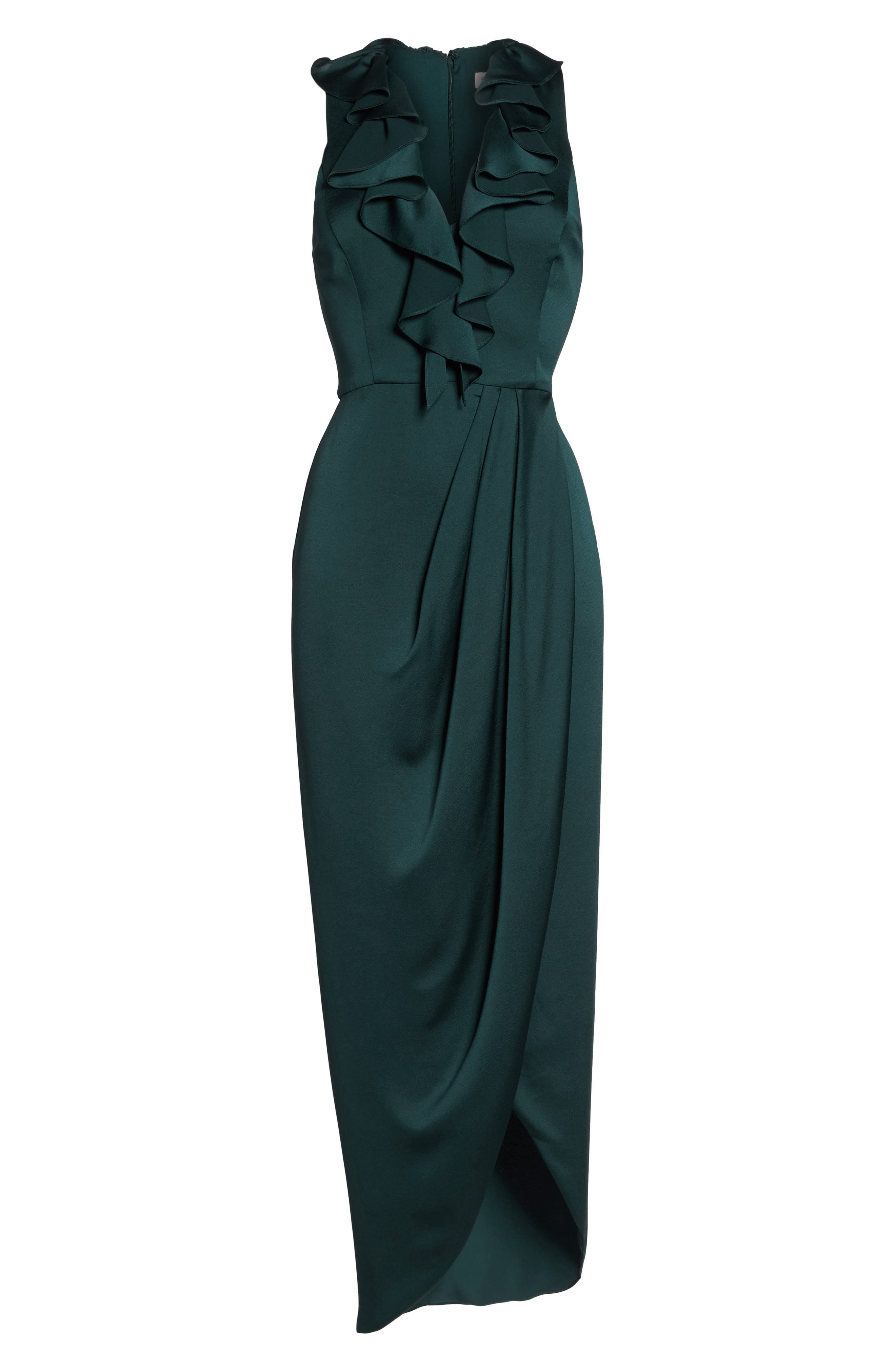 Luxe Plunging Frill Maxi Dress,                             Alternate thumbnail 7, color,                             300