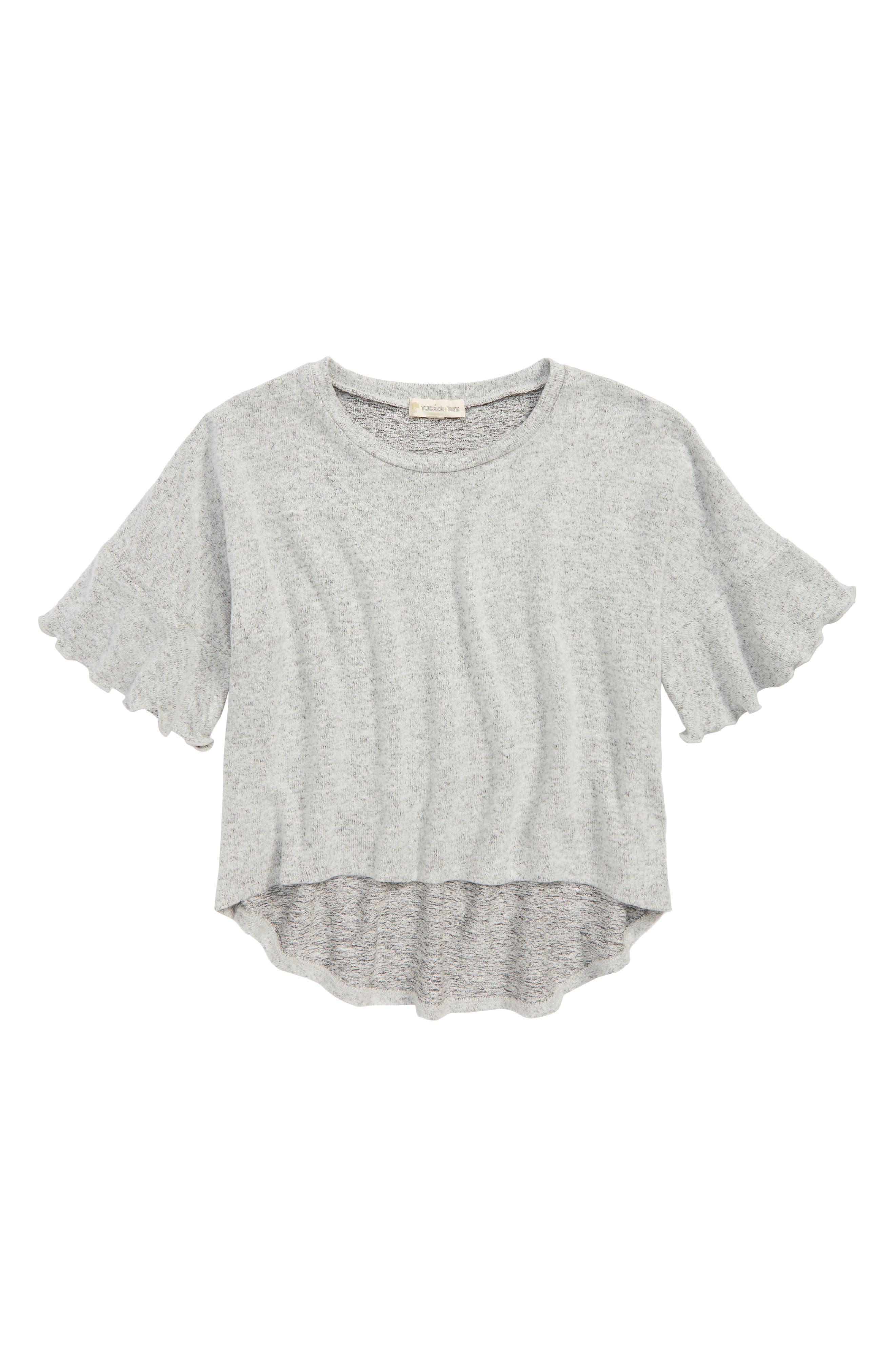 Ruffle Sleeve Knit Top,                             Main thumbnail 1, color,                             030