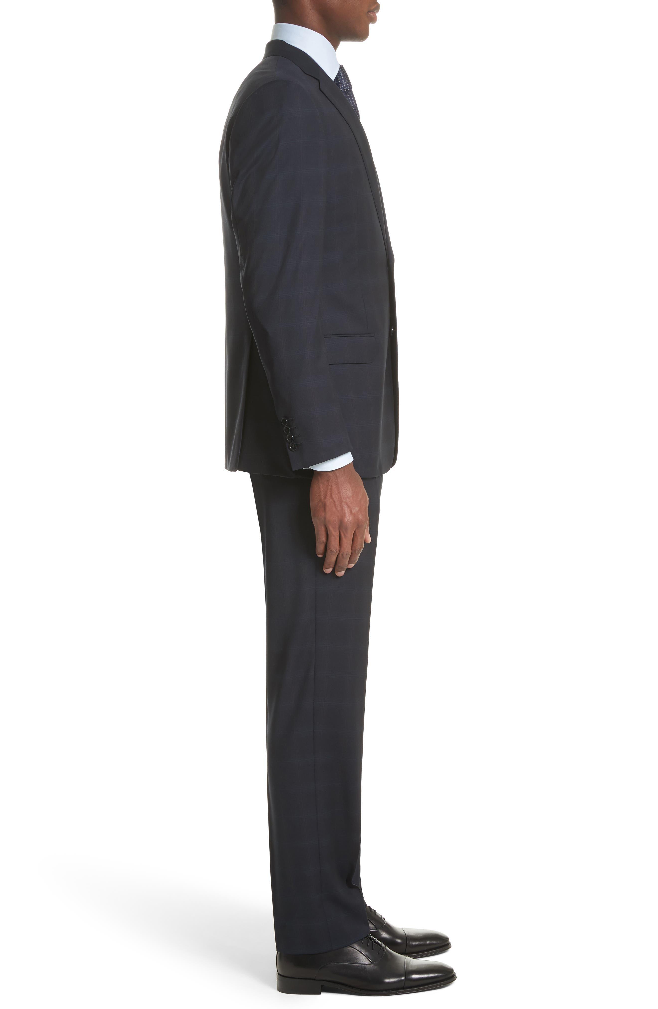 Trim Fit Plaid Wool Suit,                             Alternate thumbnail 3, color,                             465