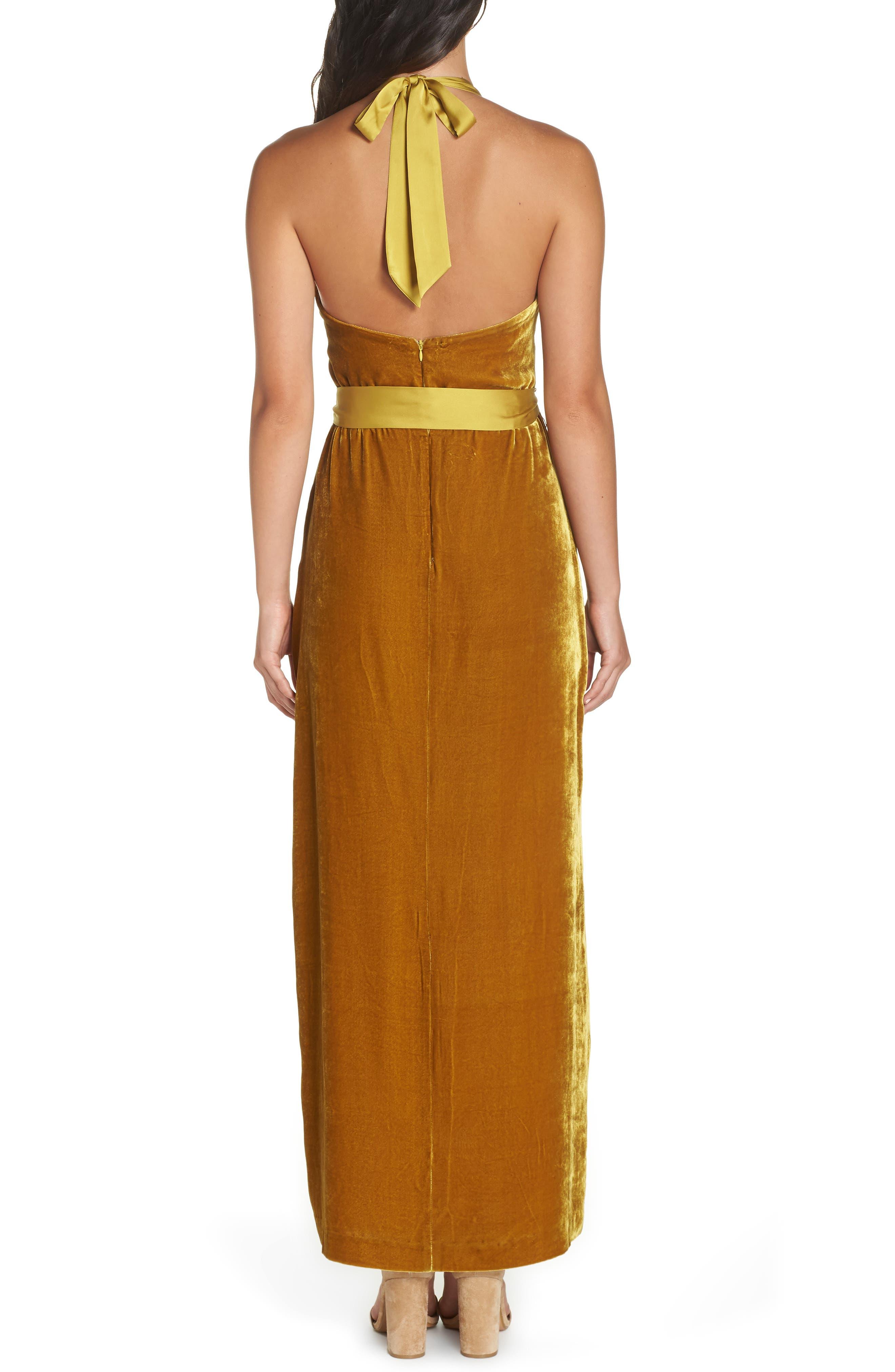 Velvet Halter Maxi Dress,                             Alternate thumbnail 2, color,                             720
