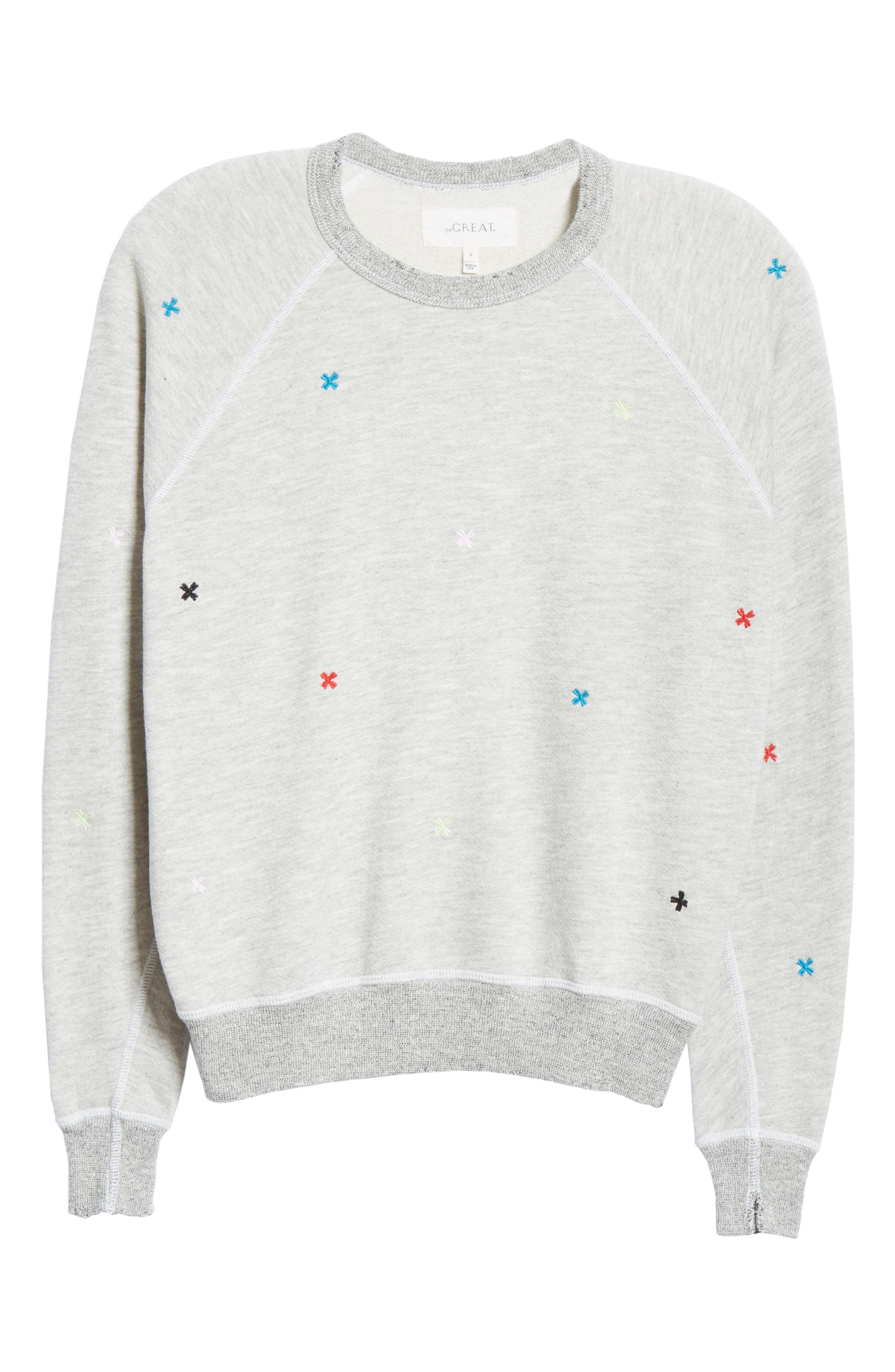 The College Embroidered Sweatshirt,                             Alternate thumbnail 6, color,                             HEATHER GREY/ MULTI