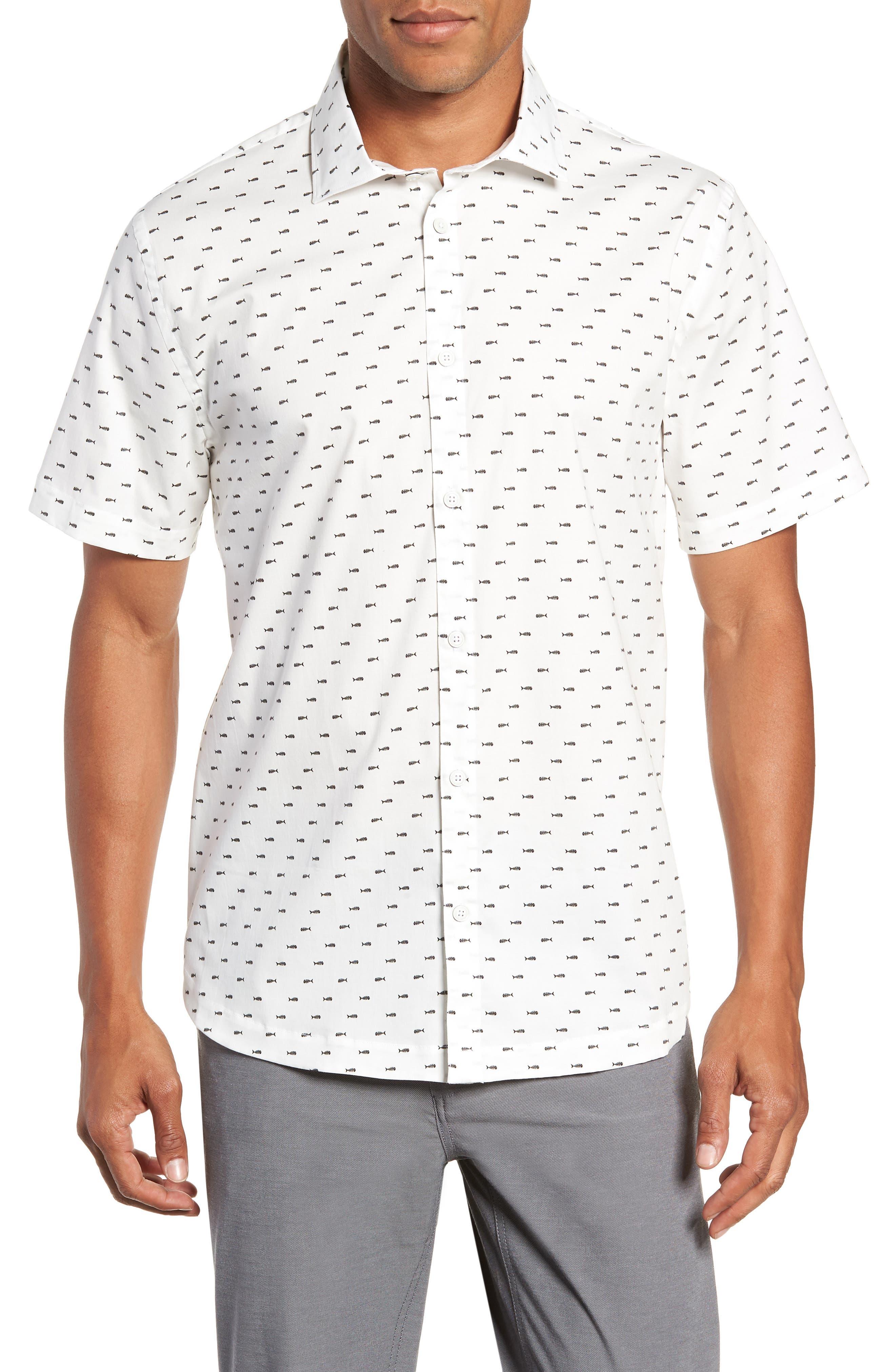 Cabana Regular Fit Sport Shirt,                         Main,                         color, FISH BONES