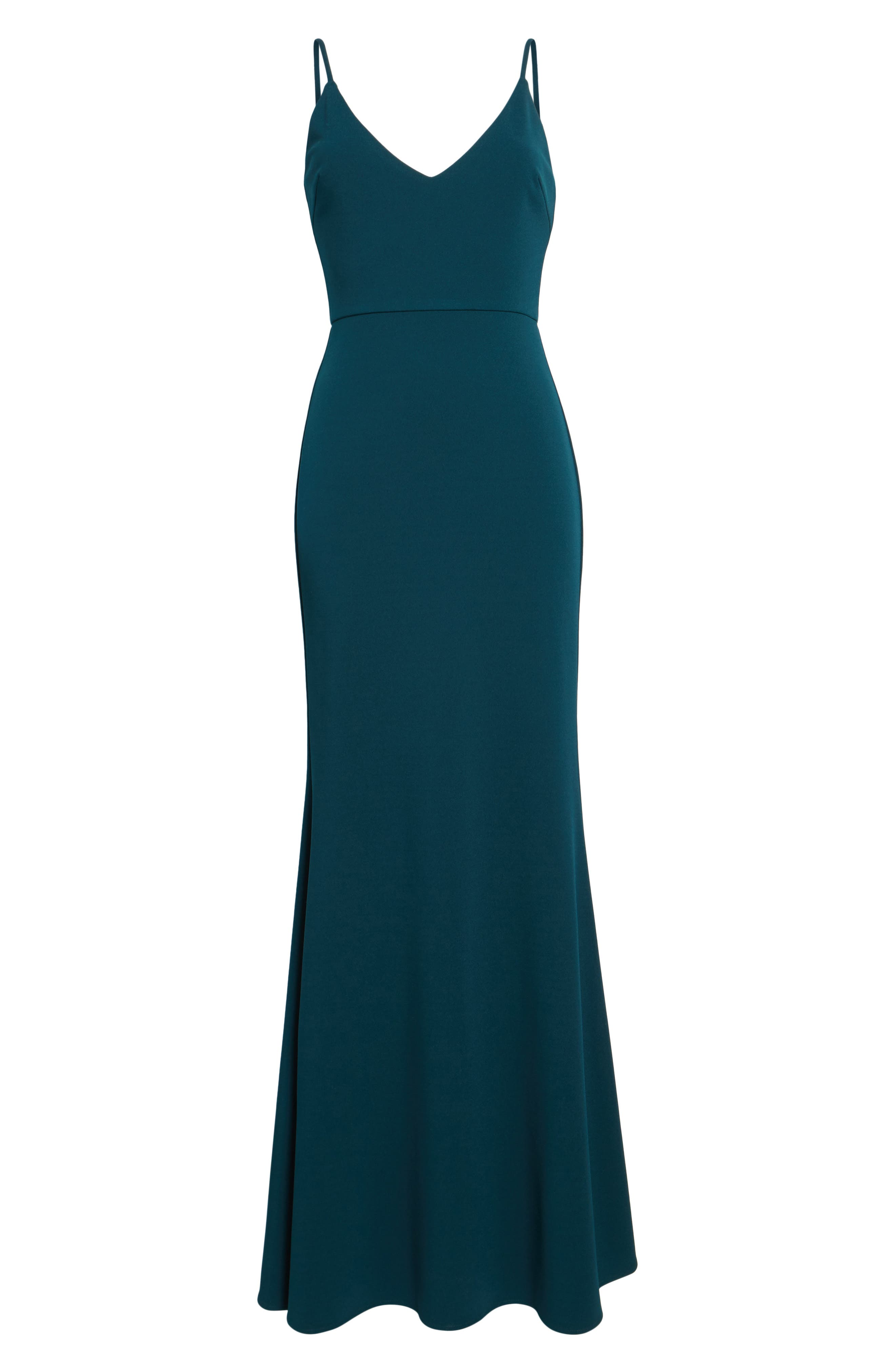 V-Neck Trumpet Gown,                             Alternate thumbnail 7, color,                             EMERALD