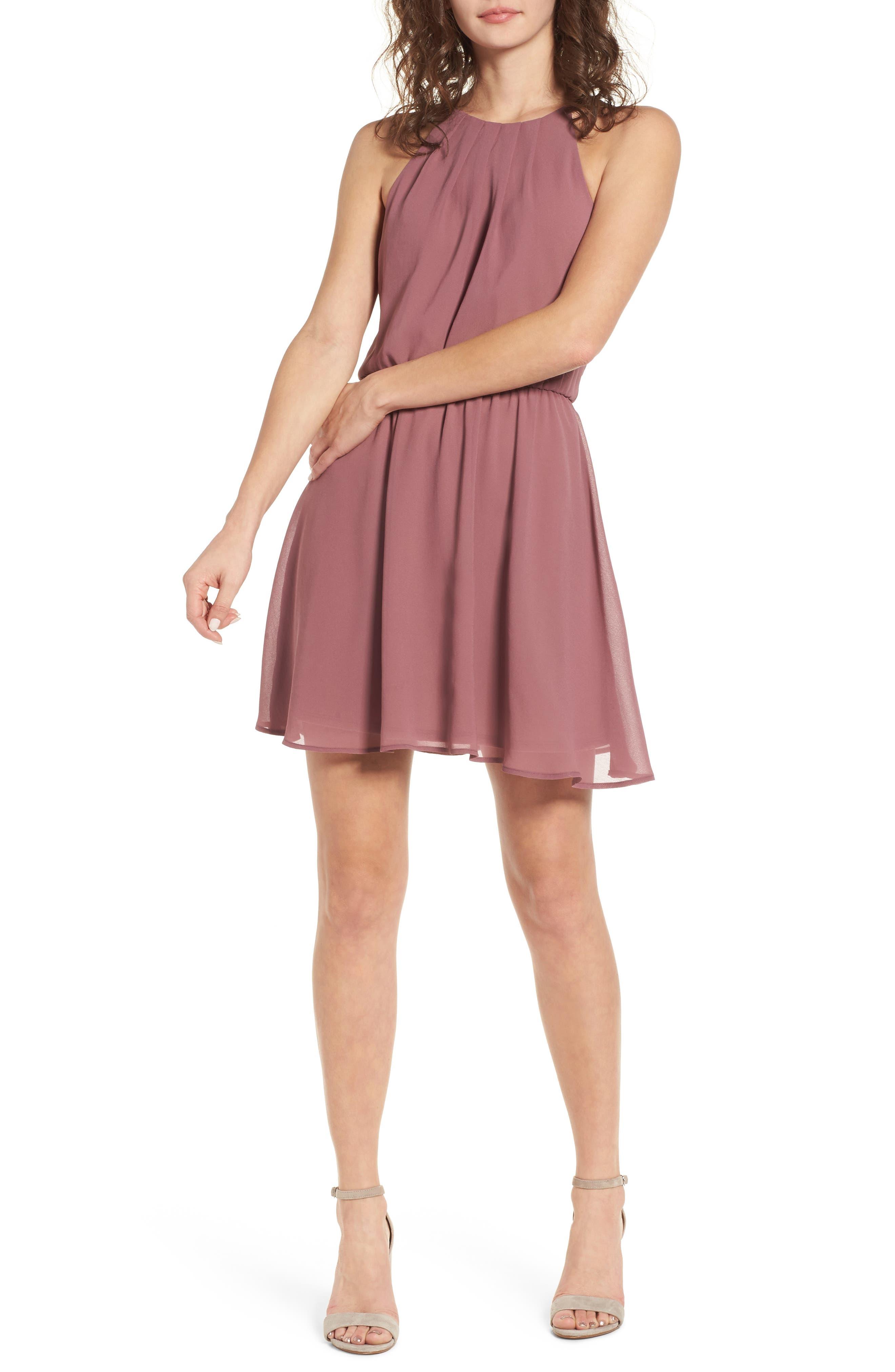 Blouson Chiffon Skater Dress,                             Alternate thumbnail 207, color,