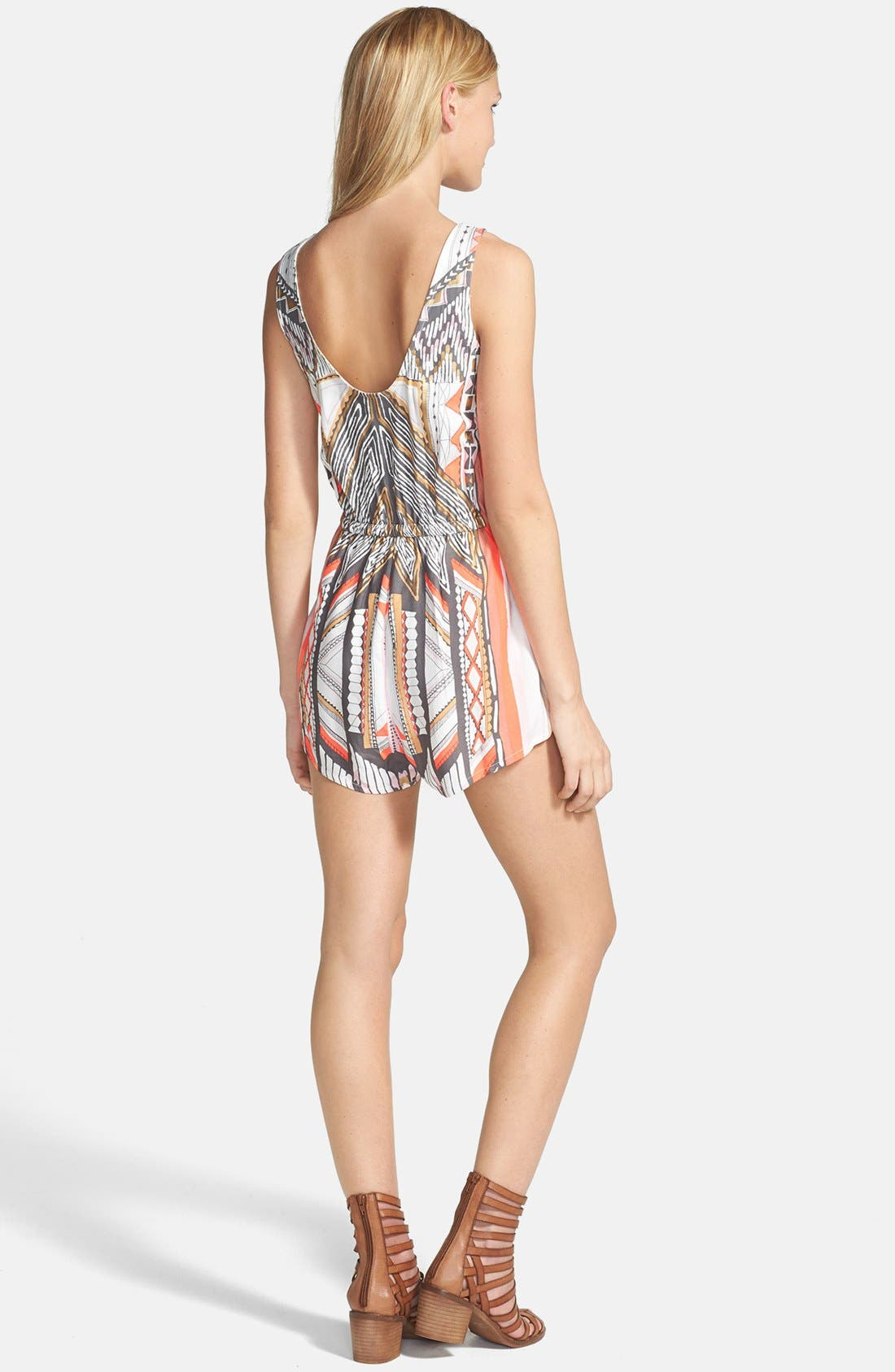 'Mayan Temple' Print Woven Romper,                             Alternate thumbnail 2, color,                             250