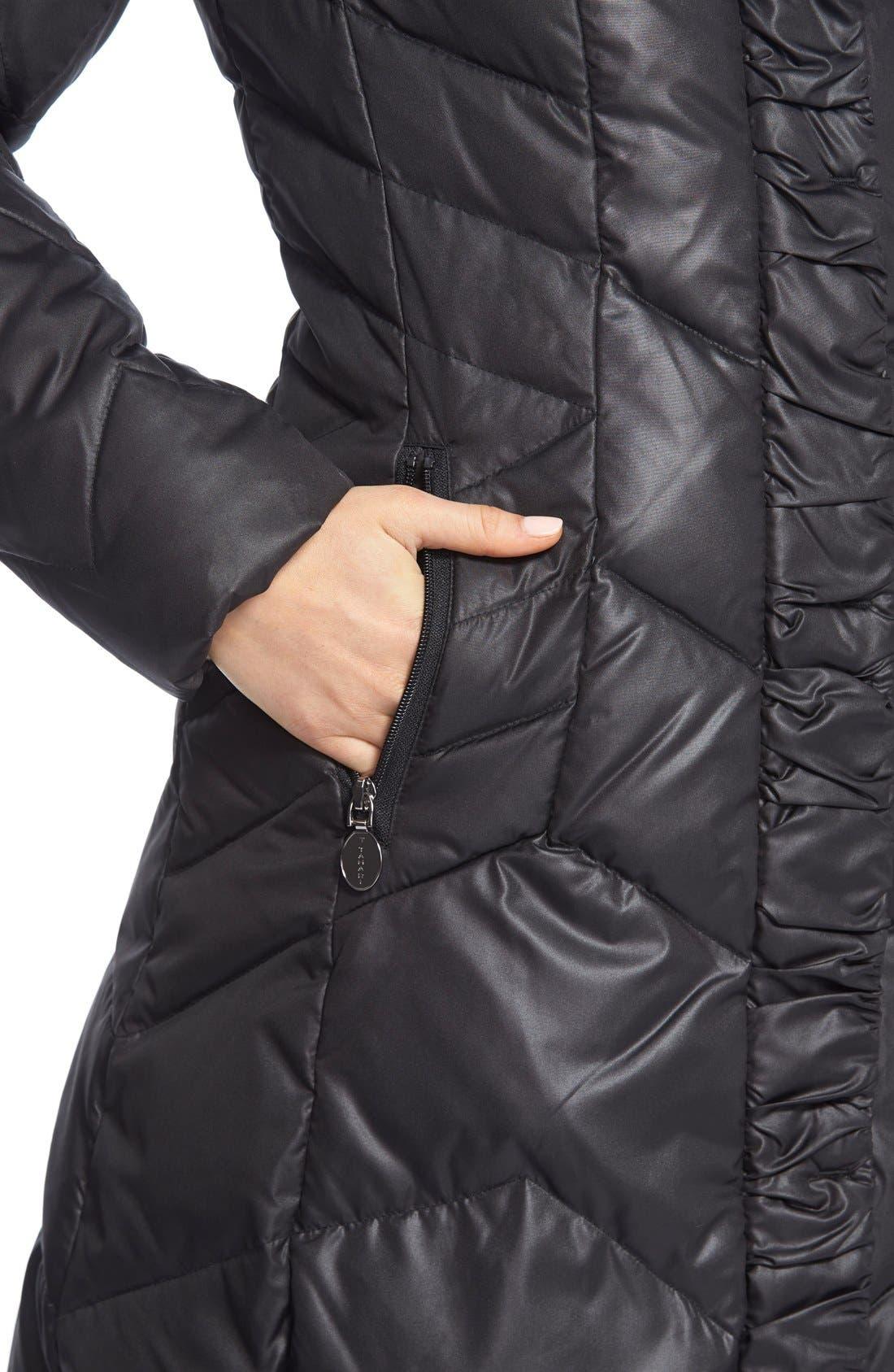 'Mia' FauxFur Trim Hooded Down Coat,                             Alternate thumbnail 4, color,                             001