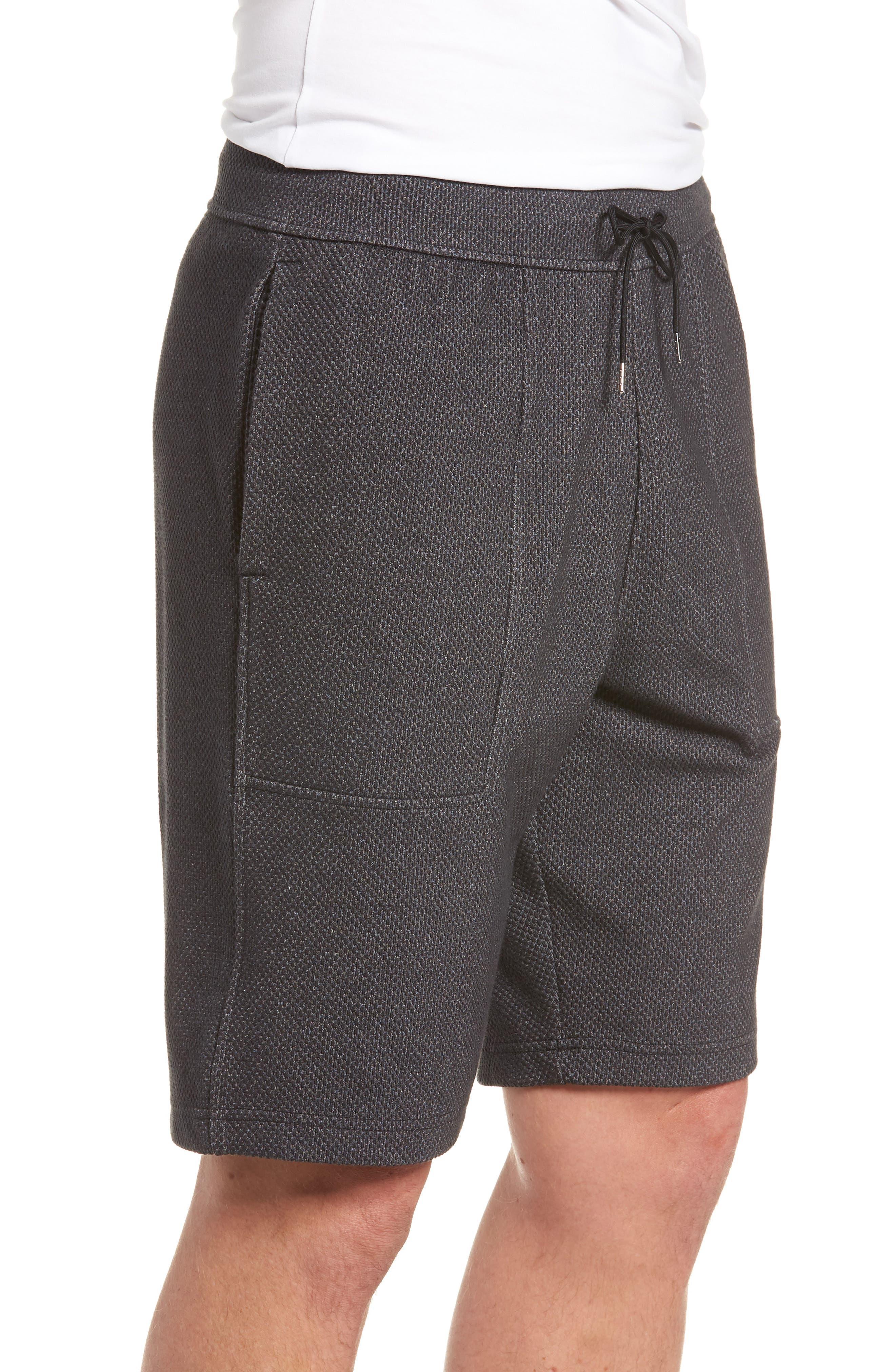 Pursuit Fleece Trim Fit Shorts,                             Alternate thumbnail 3, color,                             BLACK/ BLACK/ STEALTH GRAY