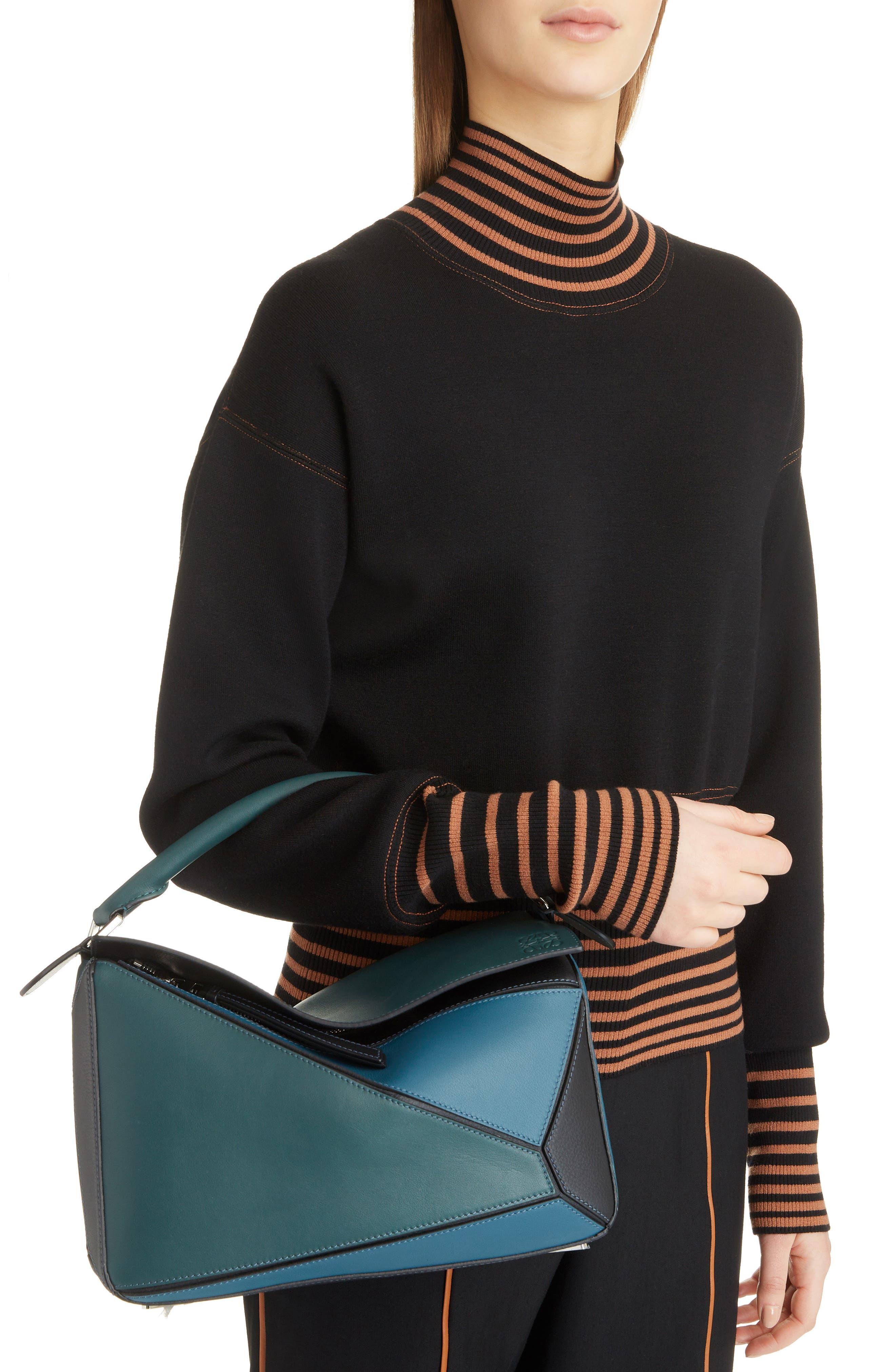 Medium Puzzle Calfskin Leather Shoulder Bag,                             Alternate thumbnail 2, color,                             PETROLEUM BLUE/ CYPRESS