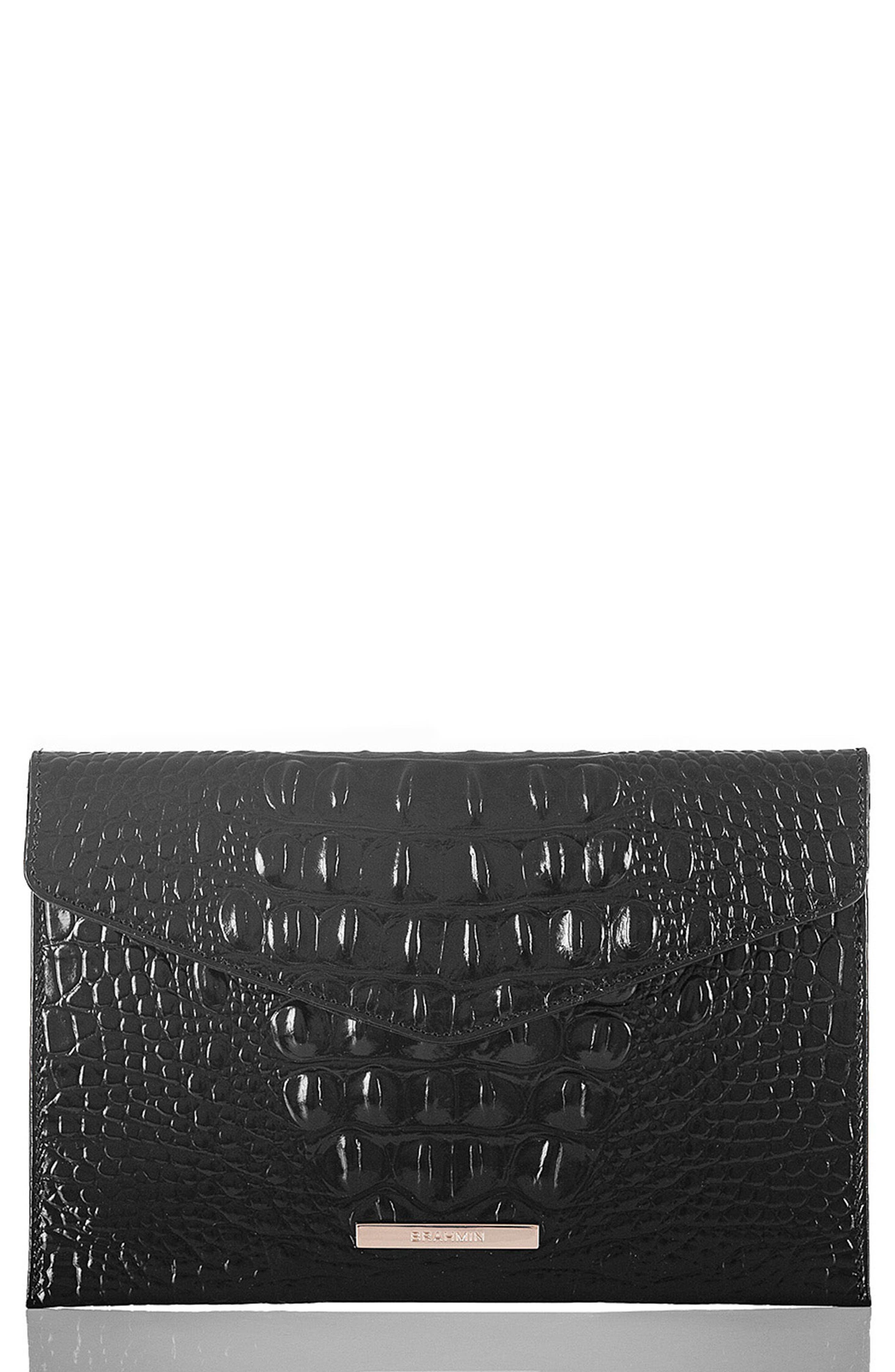 Melbourne Croc Embossed Leather Envelope Clutch,                         Main,                         color, BLACK