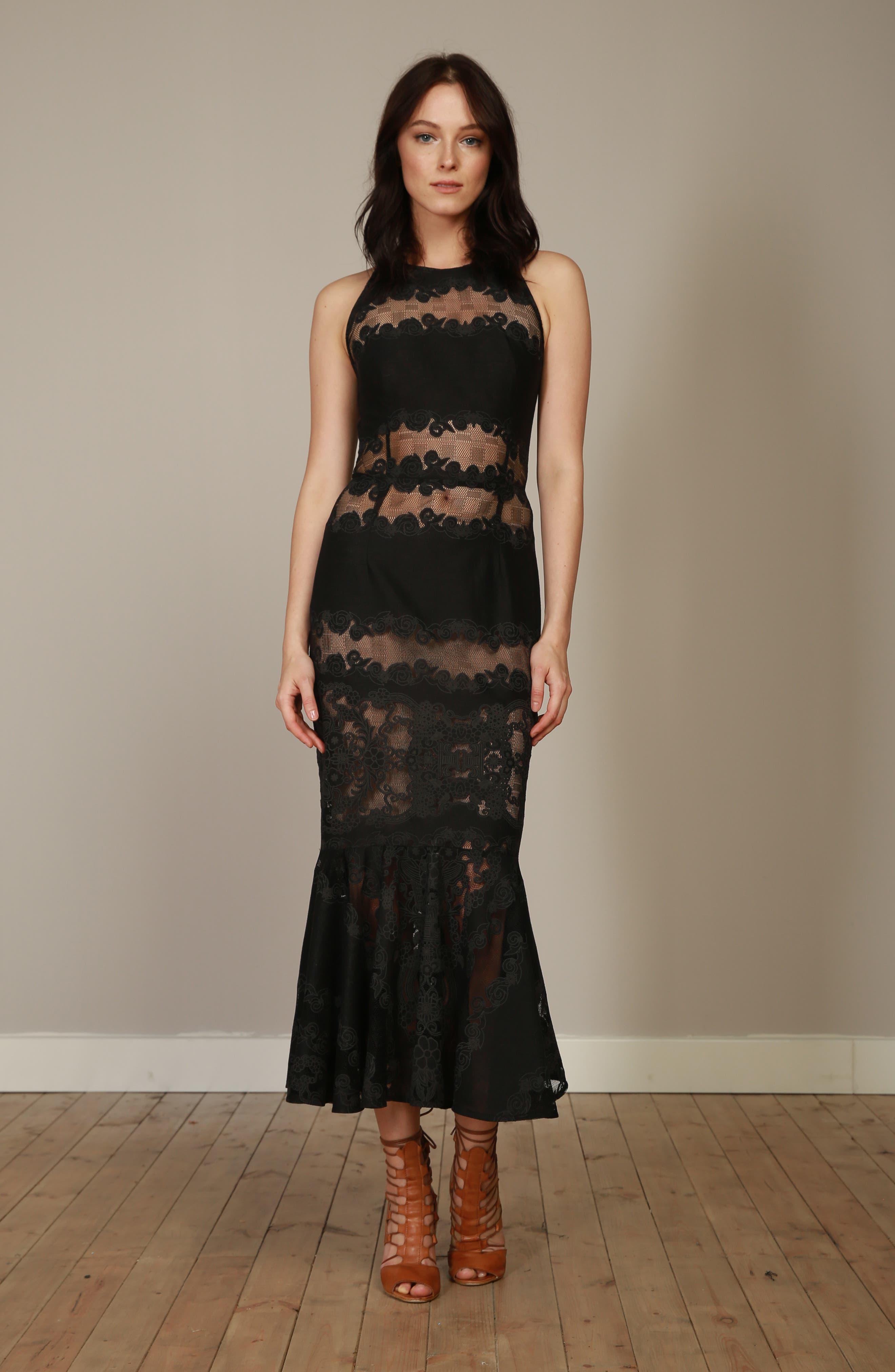 Bettina Lace Panel Tea Length Dress,                             Alternate thumbnail 7, color,                             BLACK