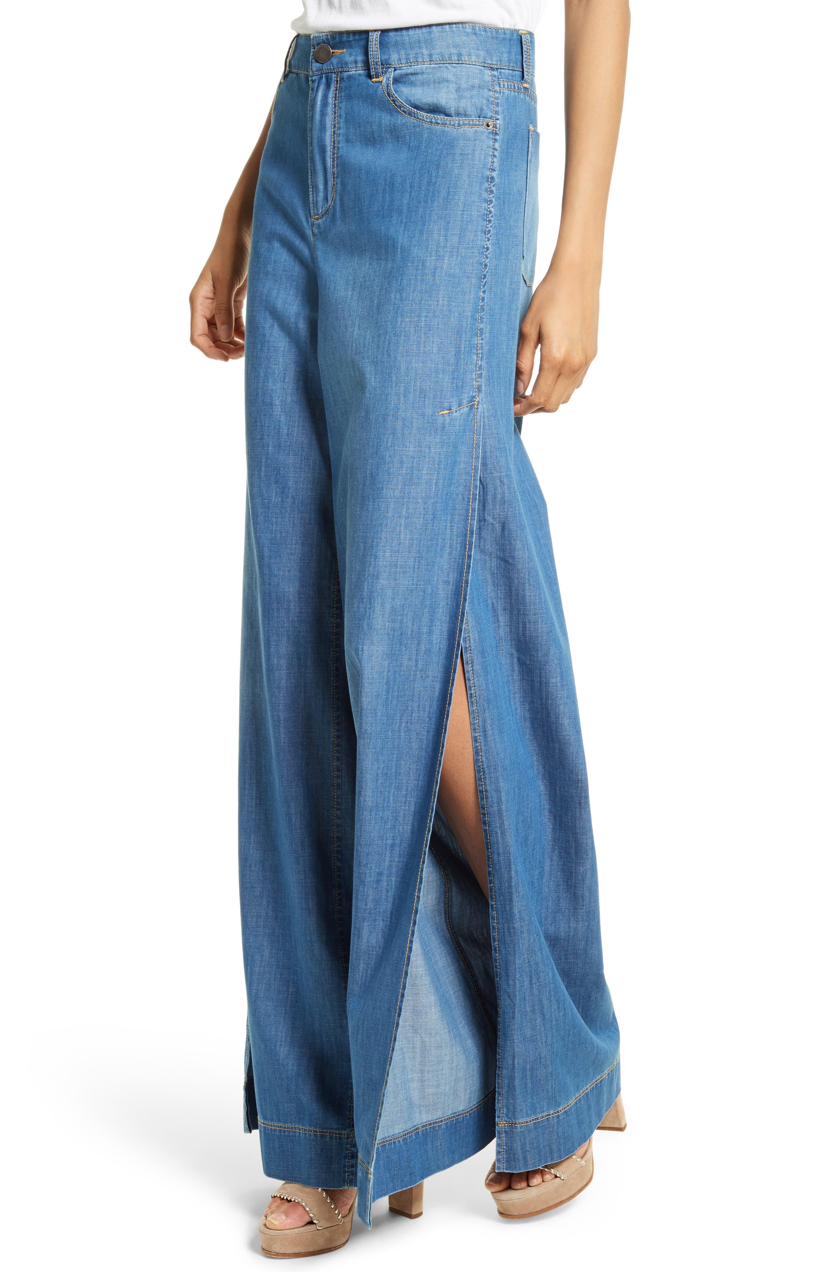 Clarissa Side Slit Wide Leg Jeans,                             Alternate thumbnail 4, color,                             470