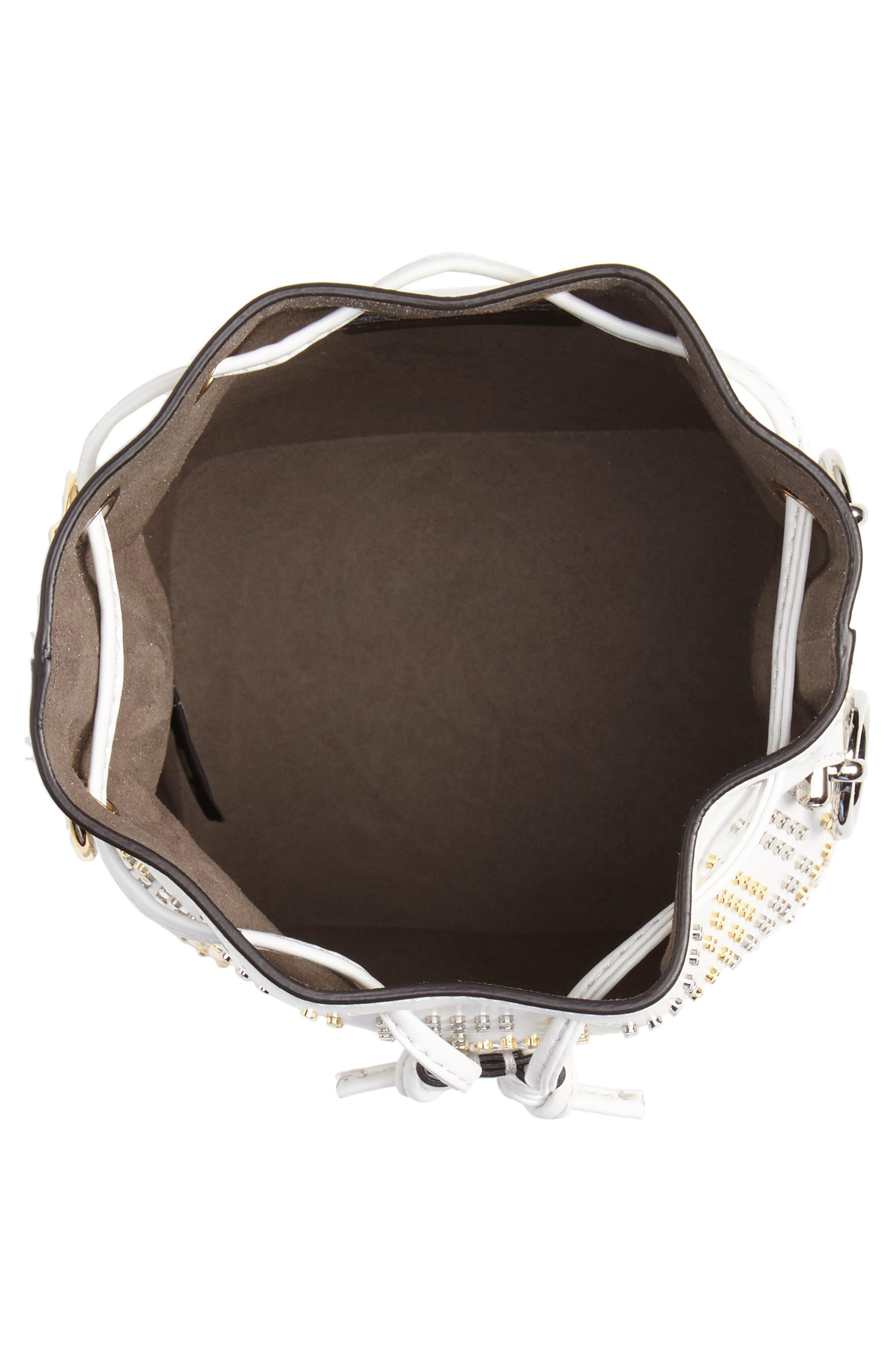 Mon Tresor Studded Logo Leather Bucket Bag,                             Alternate thumbnail 5, color,                             ICE/ ORO/ PALLADIO