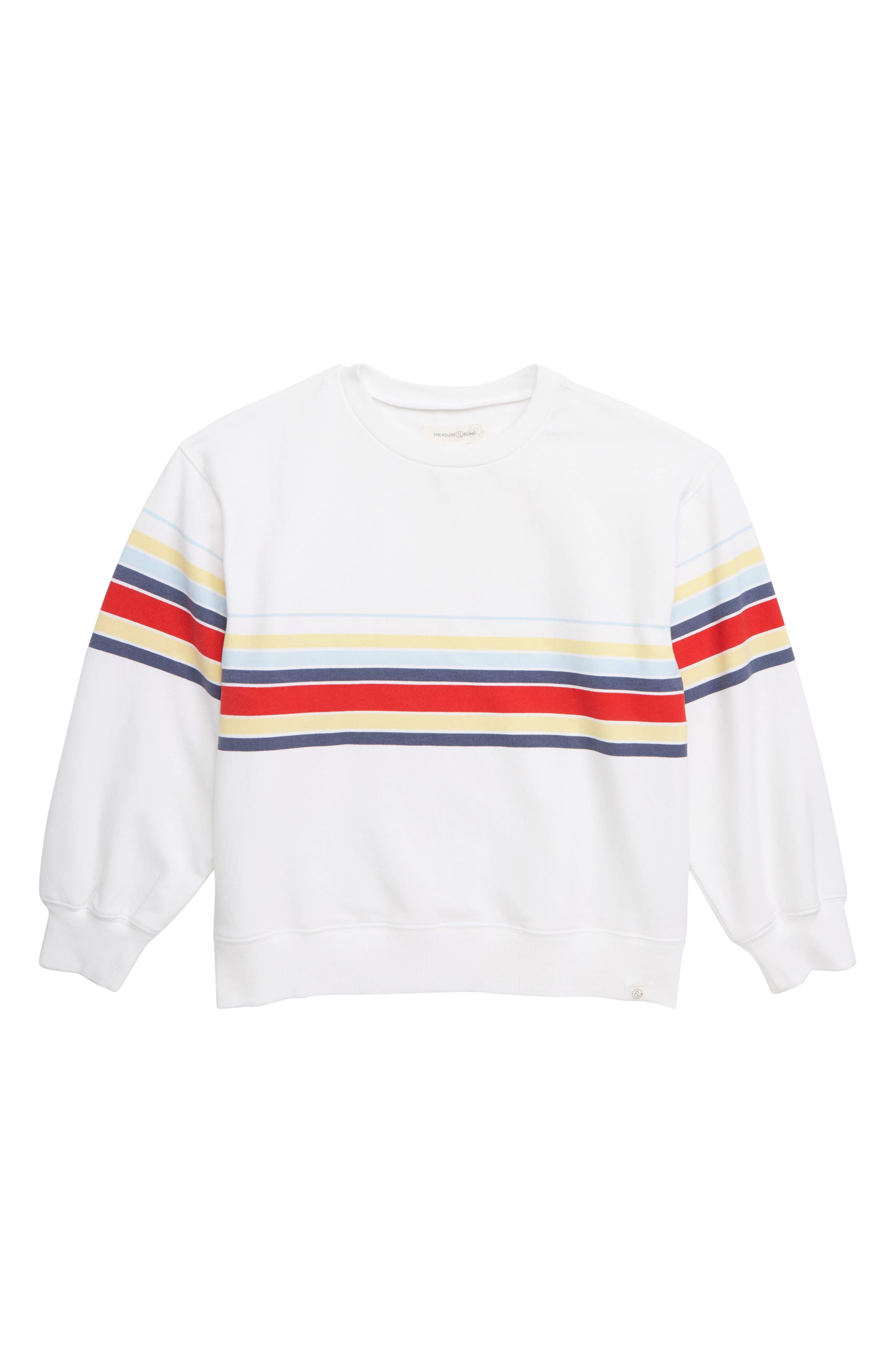 TREASURE & BOND,                             Oversized Sweatshirt,                             Main thumbnail 1, color,                             WHITE MALIBU STRIPE