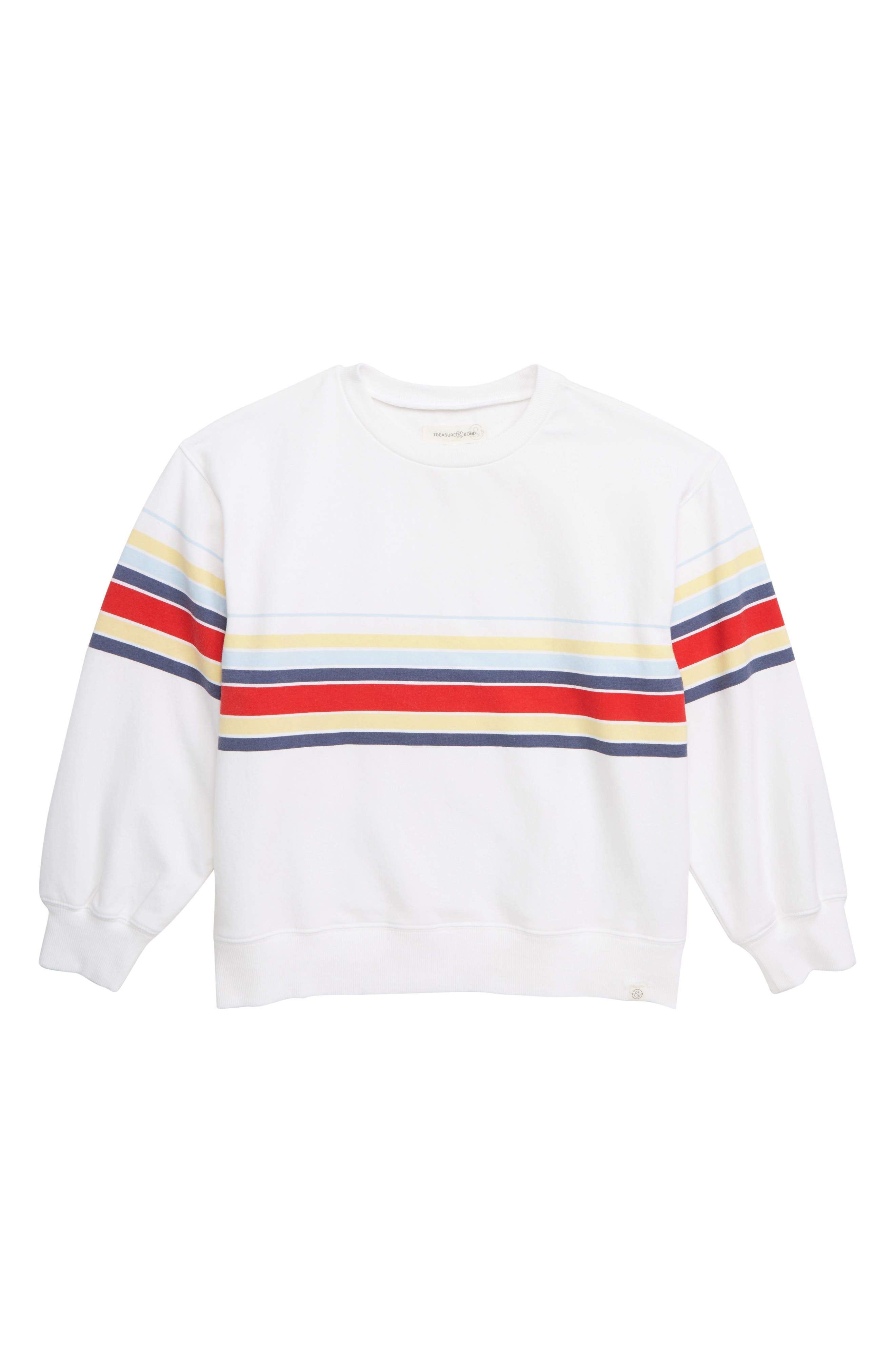 TREASURE & BOND Oversized Sweatshirt, Main, color, WHITE MALIBU STRIPE
